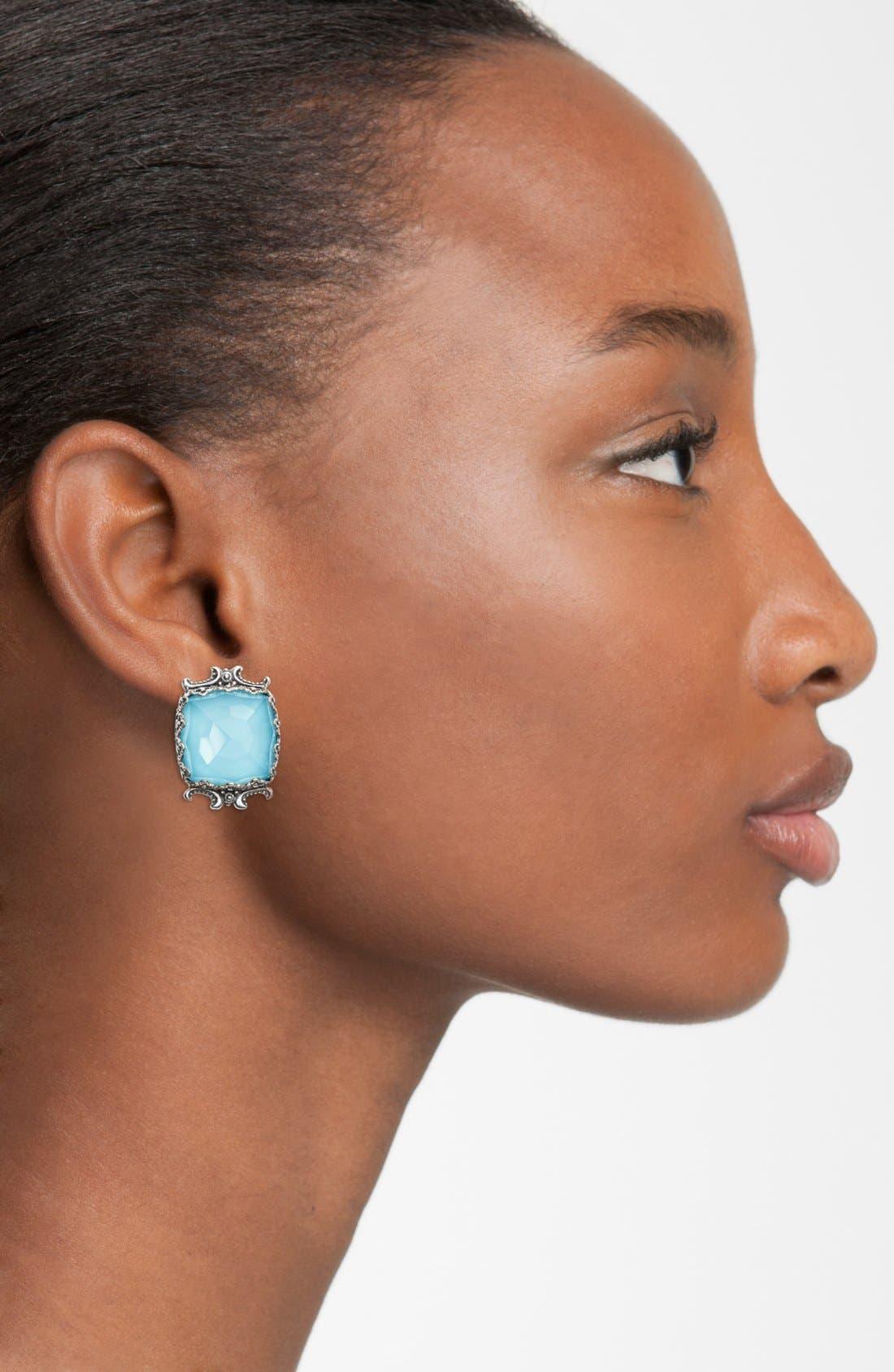 'Aegean' Clip Earrings,                             Alternate thumbnail 2, color,                             Silver/ Blue Rock Crystal