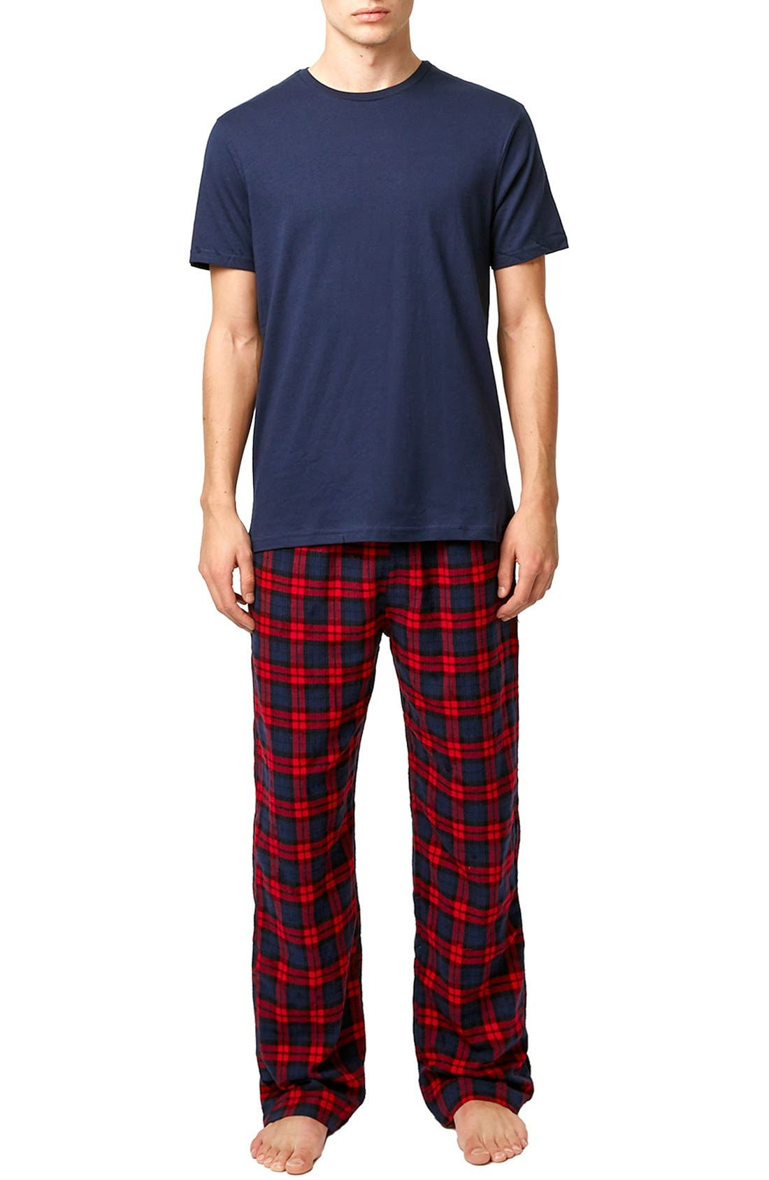 Blue & Red Pajamas,                             Main thumbnail 1, color,                             Red Multi