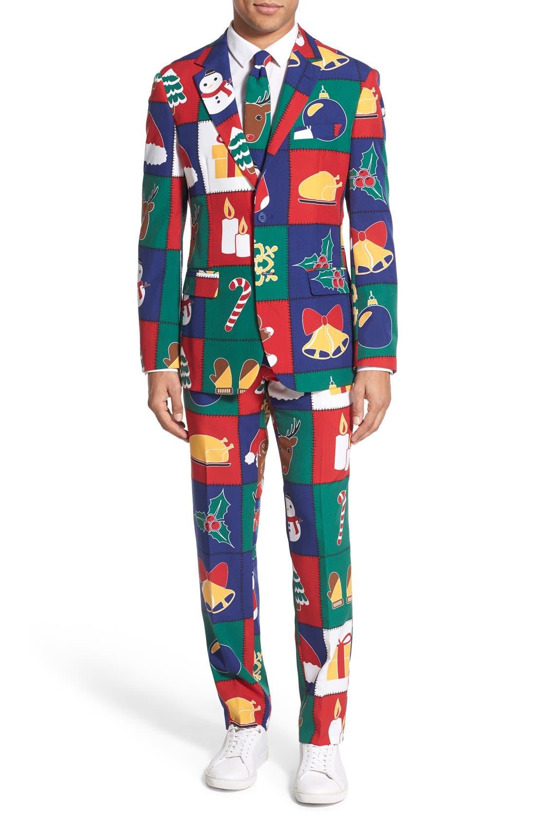'Quilty Pleasure' Holiday Suit & Tie,                         Main,                         color, Green