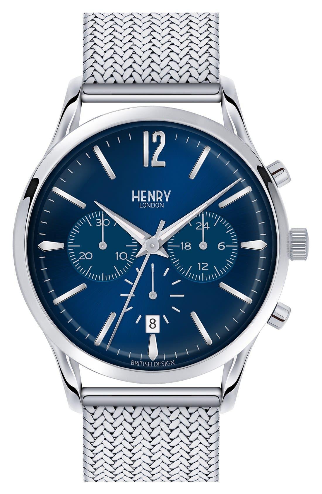 HENRY LONDON 'Knightsbridge' Chronograph Mesh Strap Watch, 38Mm in Silver/ Deep Blue