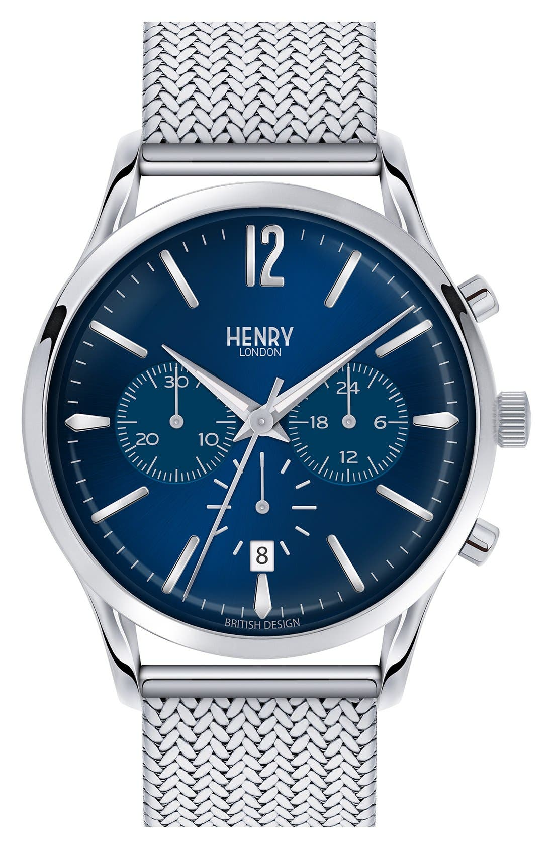 Henry London 'Knightsbridge' Chronograph Mesh Strap Watch, 38mm