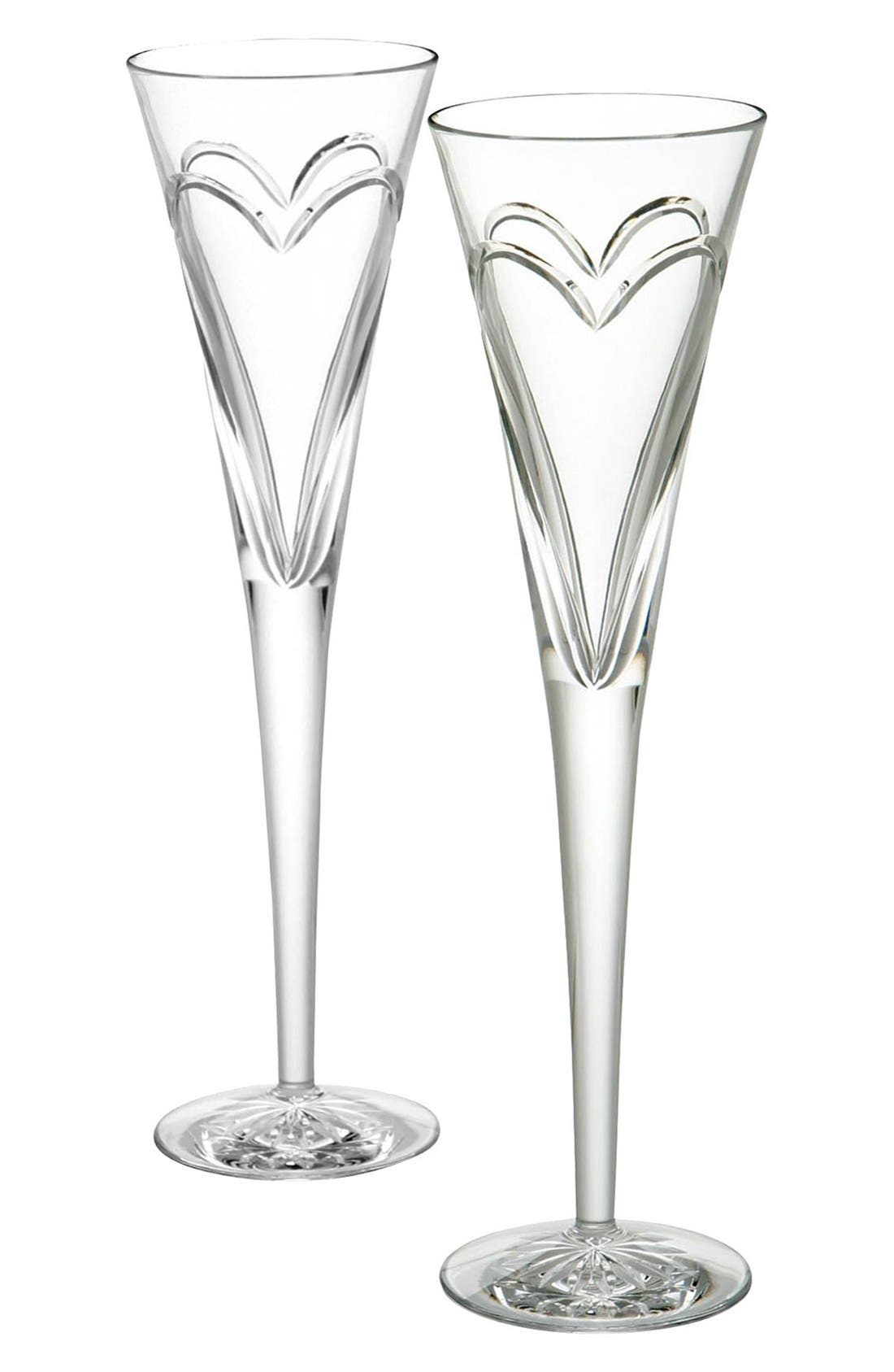 'Wishes Love & Romance' Lead Crystal Champagne Flutes,                         Main,                         color, Clear