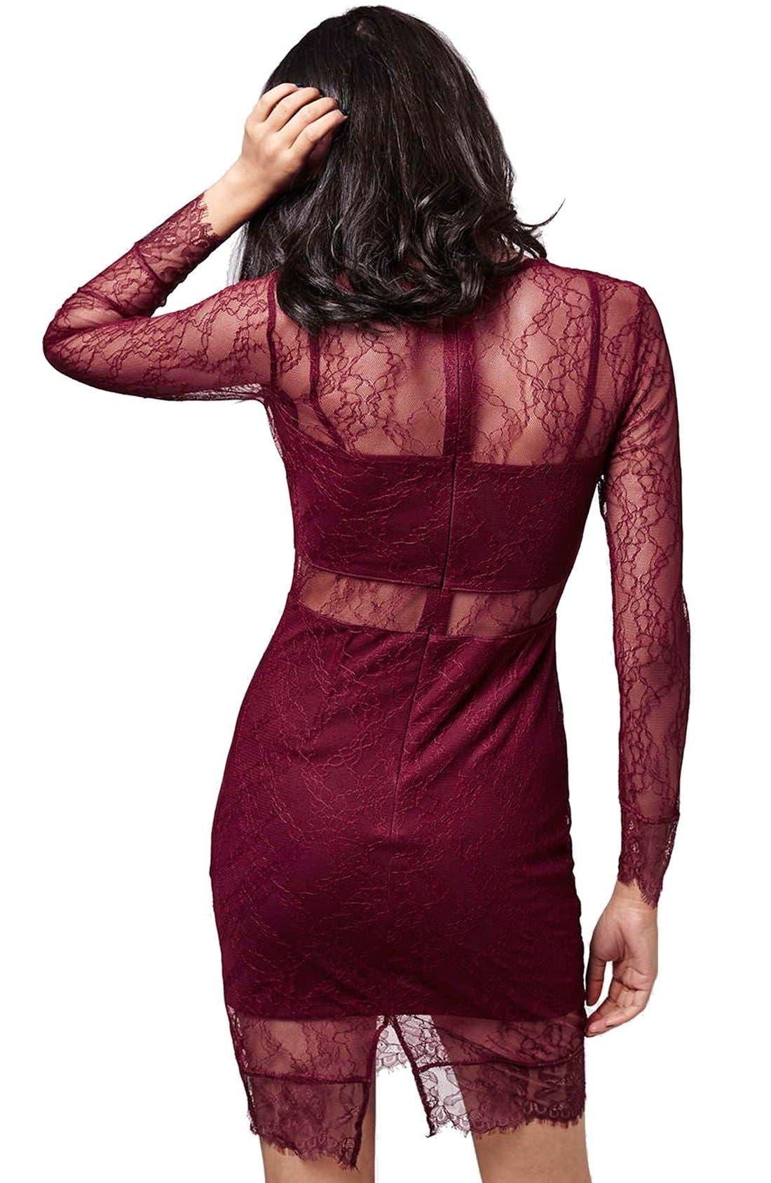 Alternate Image 2  - Topshop Lace Overlay Body-Con Dress (Regular & Petite)