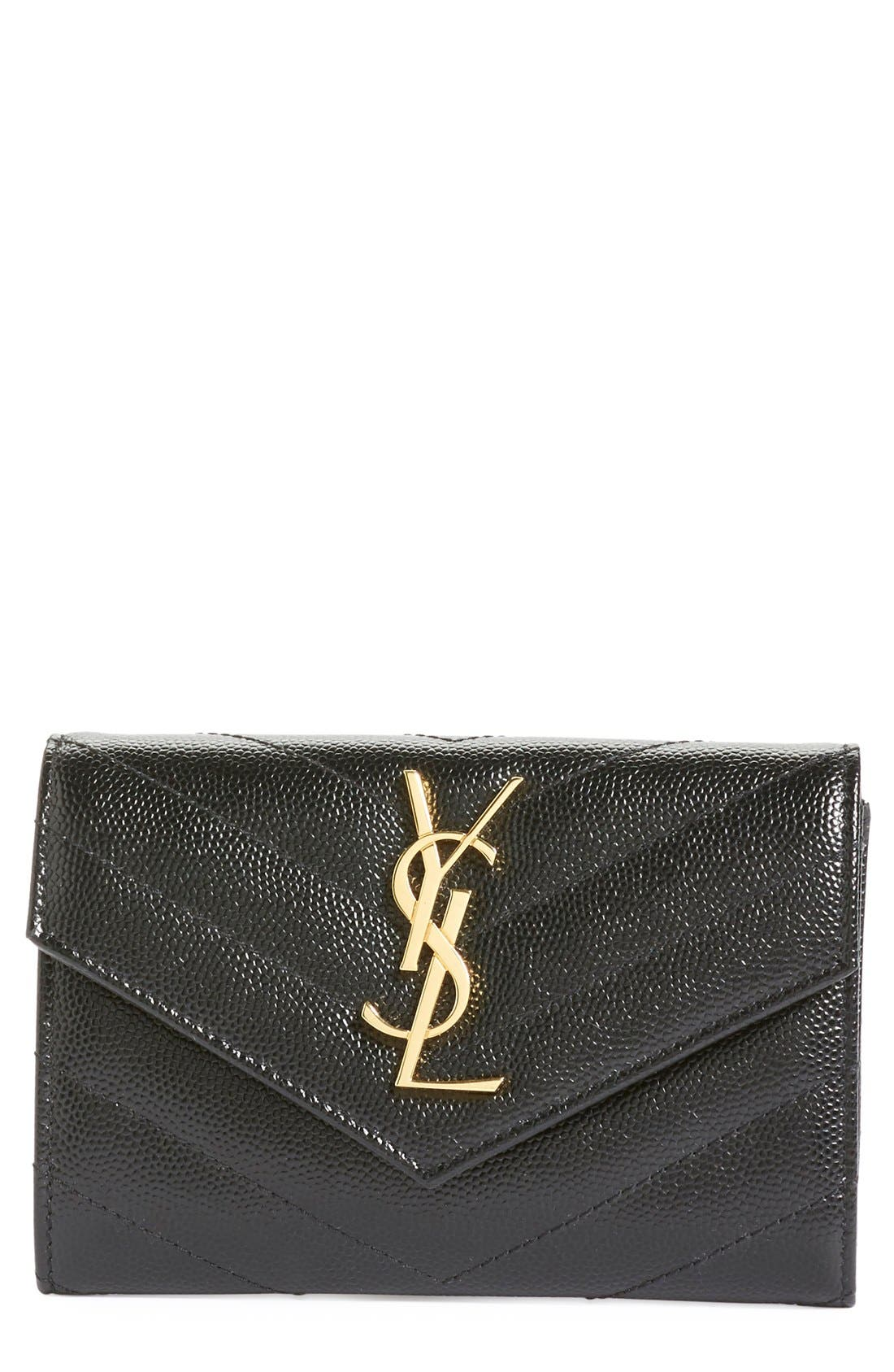 'Monogram' Quilted Leather French Wallet,                             Main thumbnail 1, color,                             Noir