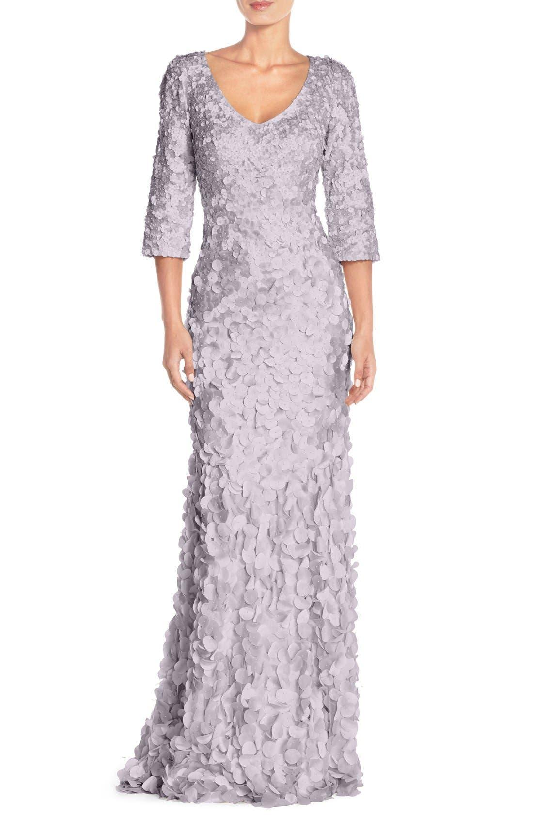 Main Image - Theia Petal Appliqué Gown