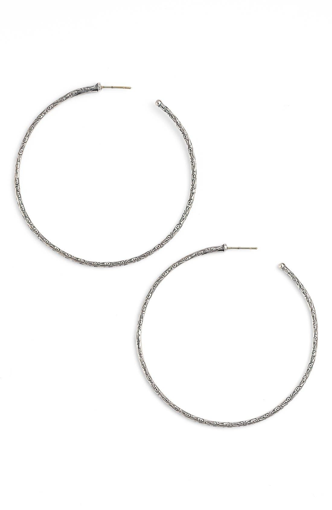 'Silver Classics' Large Etched Hoop Earrings,                             Main thumbnail 1, color,                             Silver