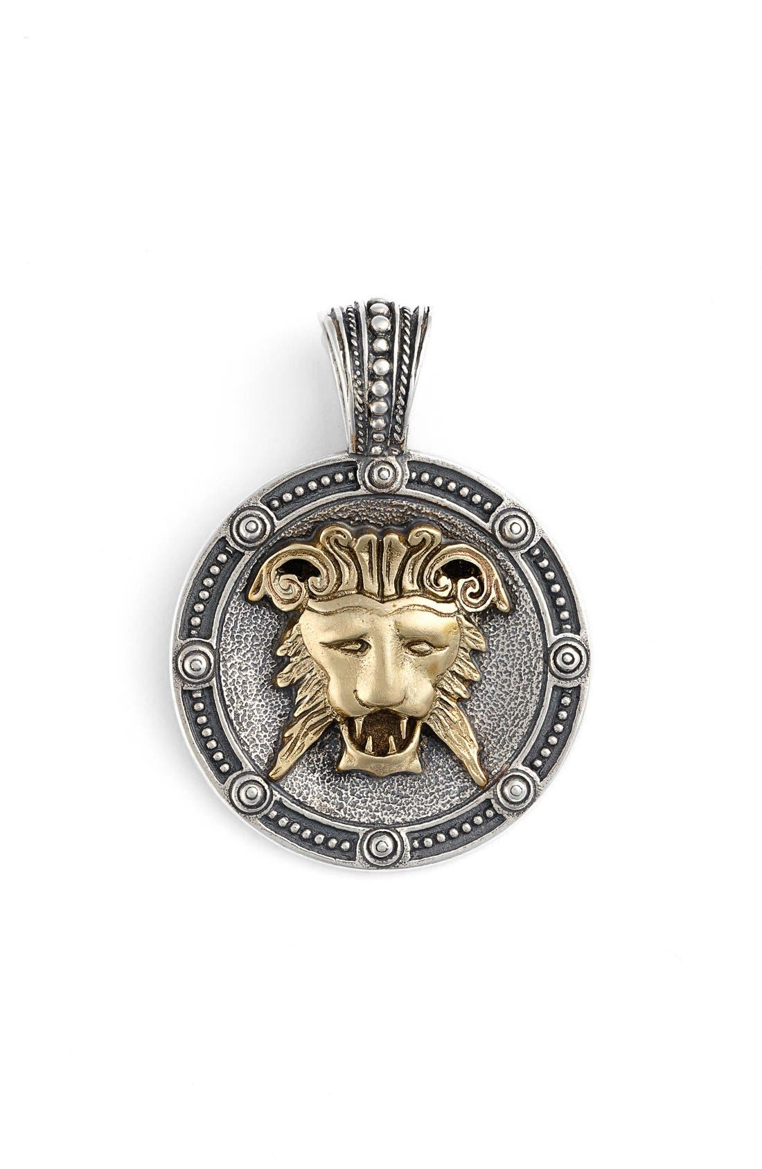 Myrmidones Lion Face Pendant,                         Main,                         color, Silver