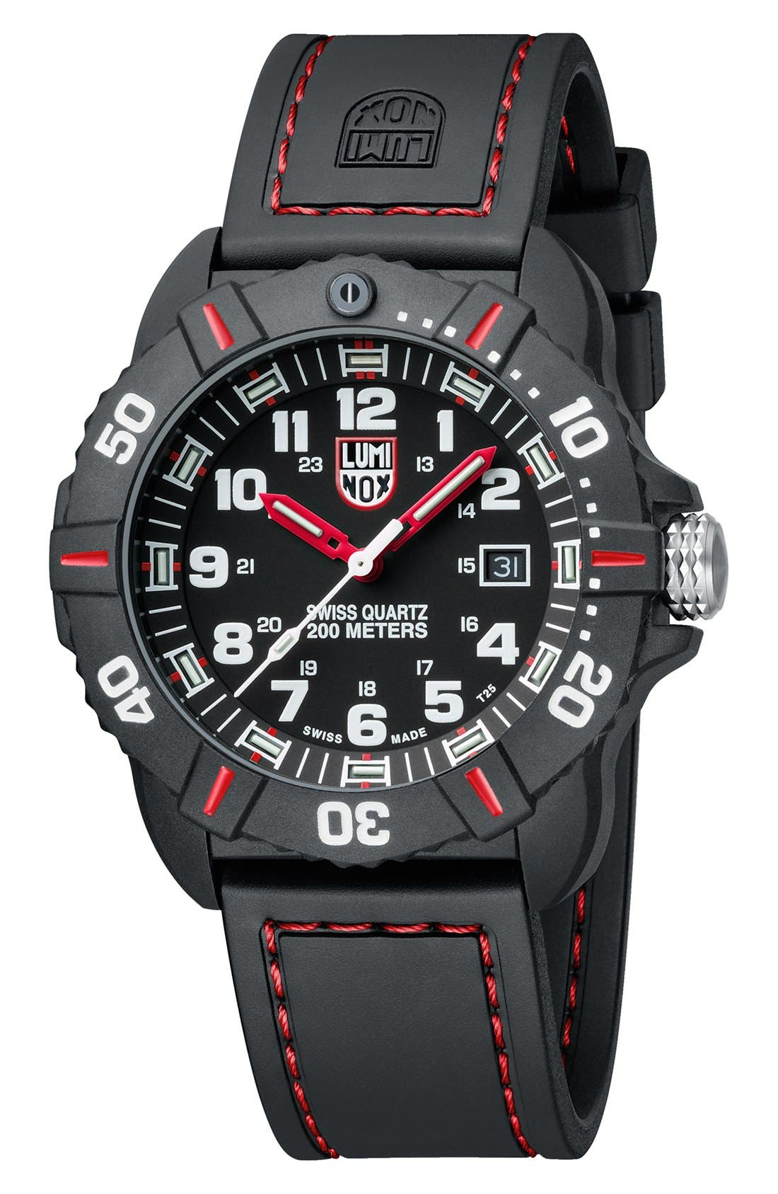 'Coronado' Rubber Strap Watch, 44mm,                             Alternate thumbnail 2, color,                             Black/ Red