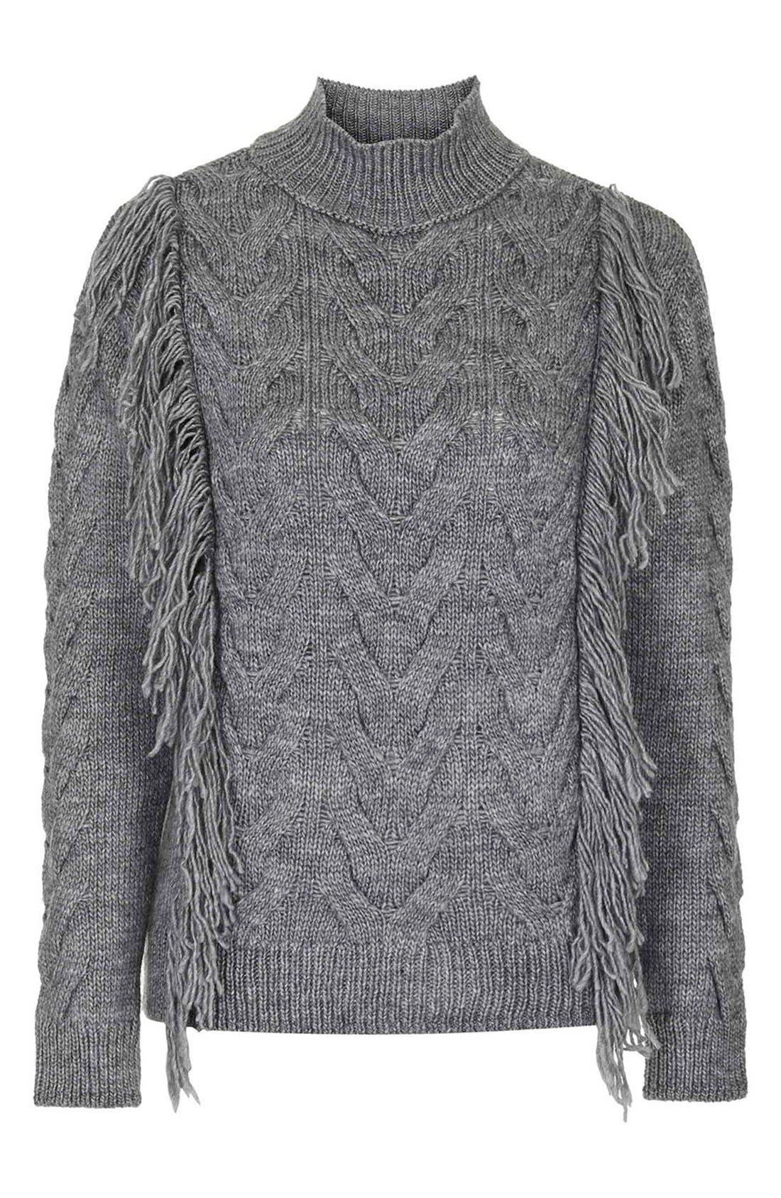 Alternate Image 4  - Topshop Fringe Cable Knit Sweater