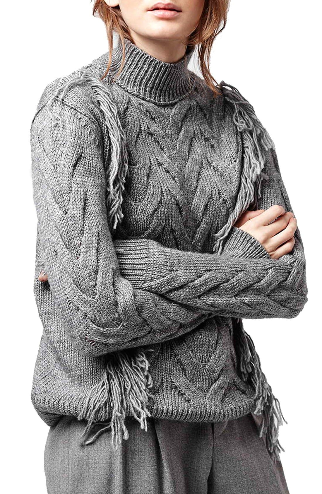Main Image - Topshop Fringe Cable Knit Sweater