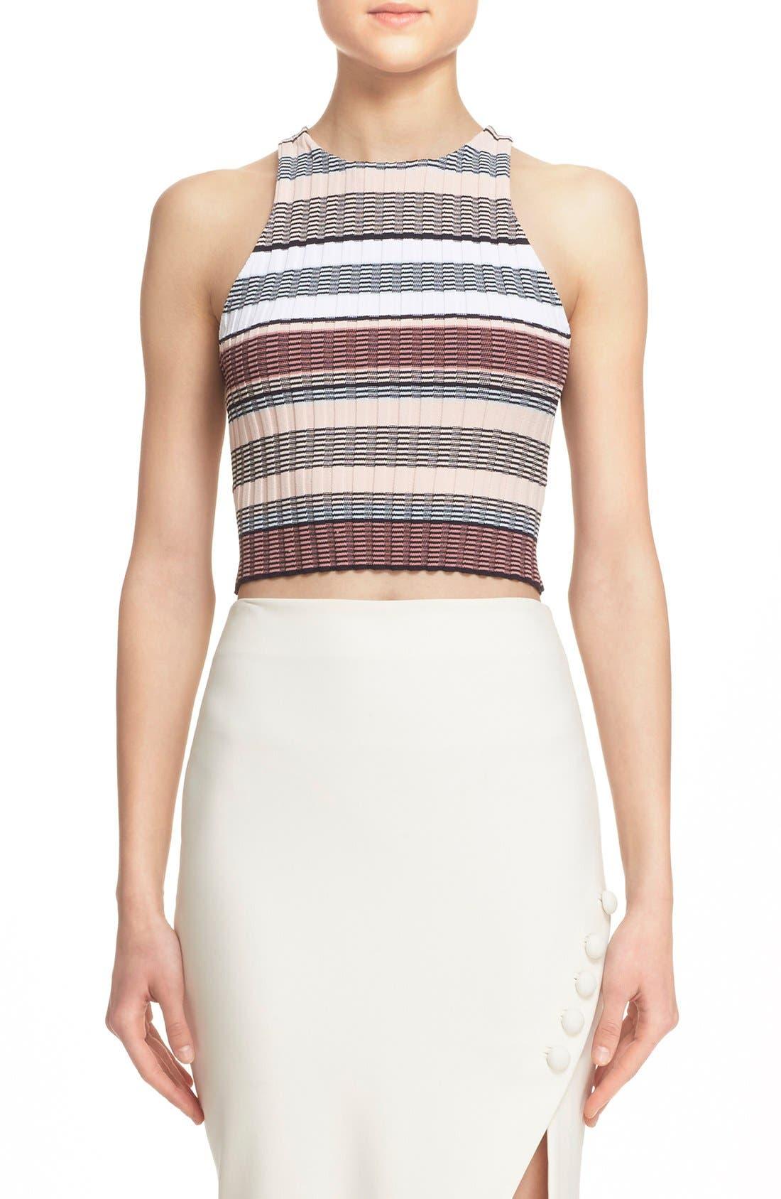 Stripe Racerback Crop Top,                         Main,                         color, Pink Multi