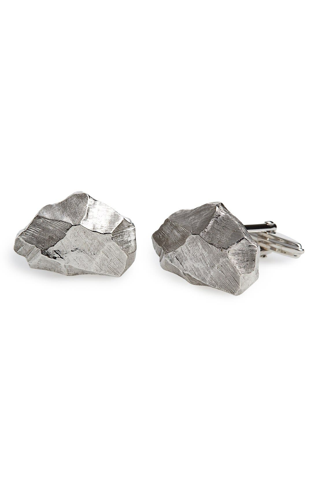 Nugget Cuff Links,                         Main,                         color, Silver