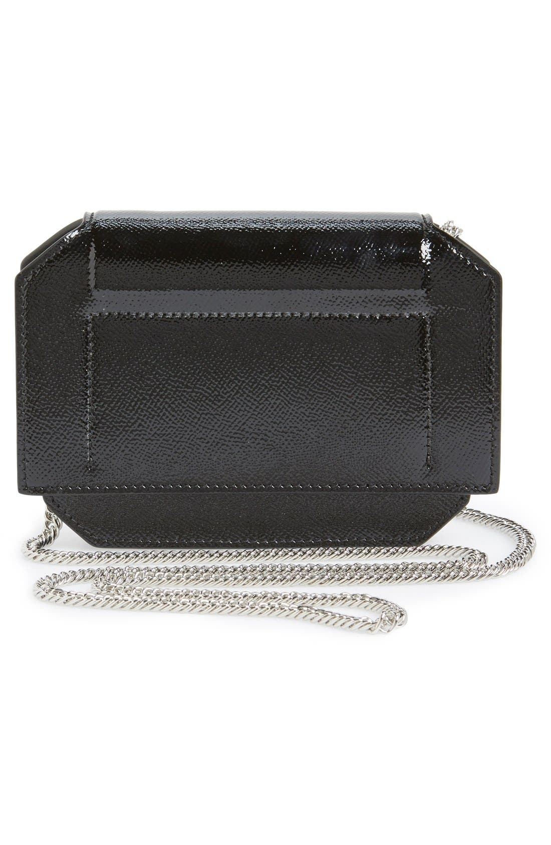 'Bow Cut' Patent Leather Wallet on a Chain,                             Alternate thumbnail 4, color,                             Black