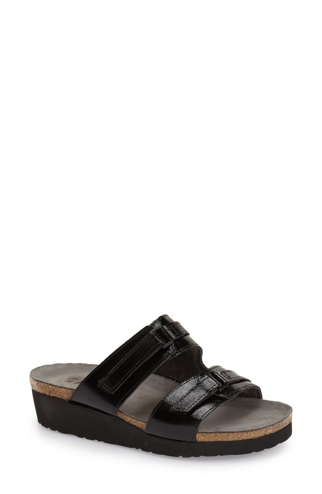 'Carly' Slide Sandal,                             Main thumbnail 1, color,                             Black Luster Leather