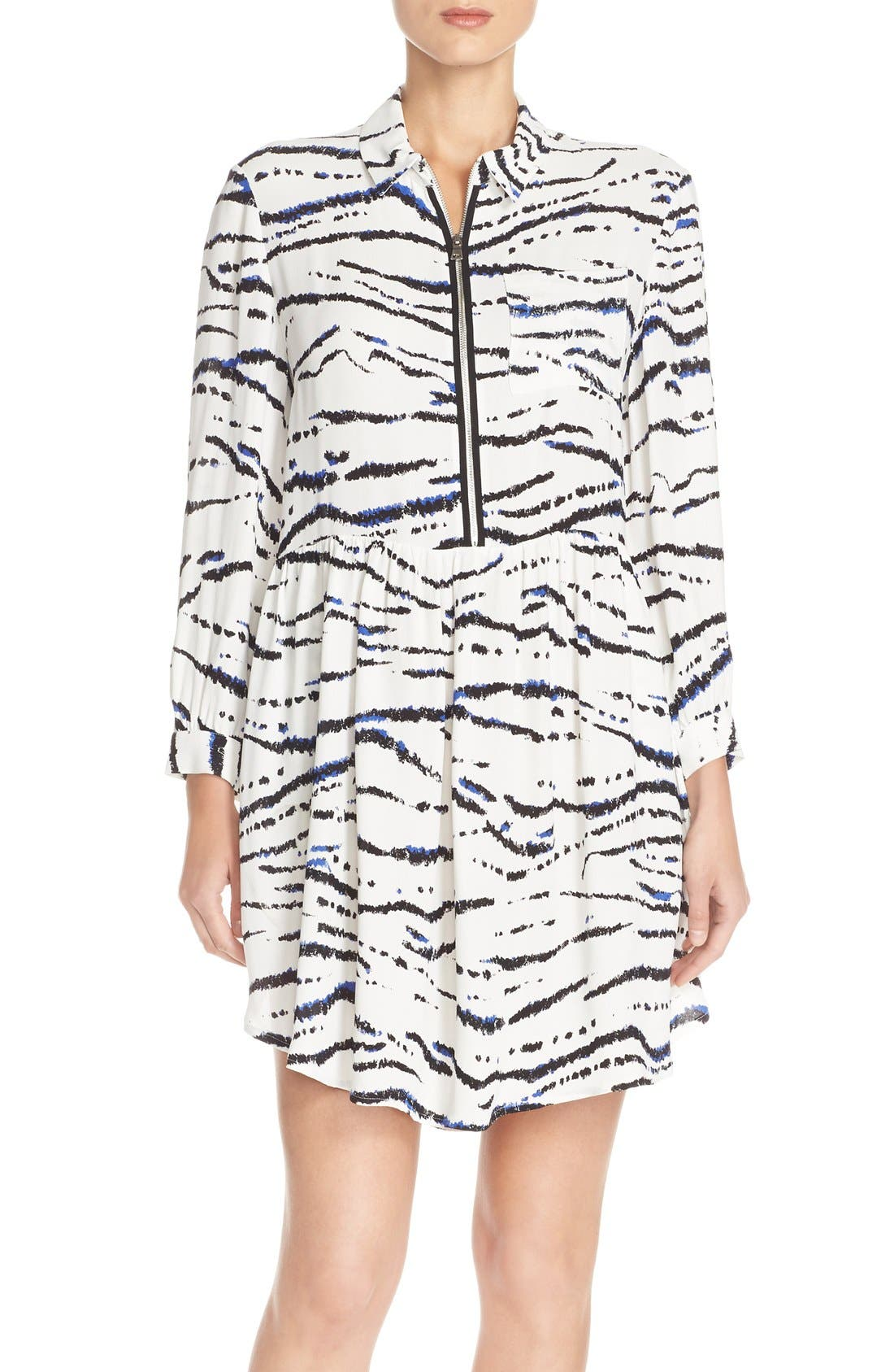 FRENCH CONNECTION Print Crepe Shirtdress