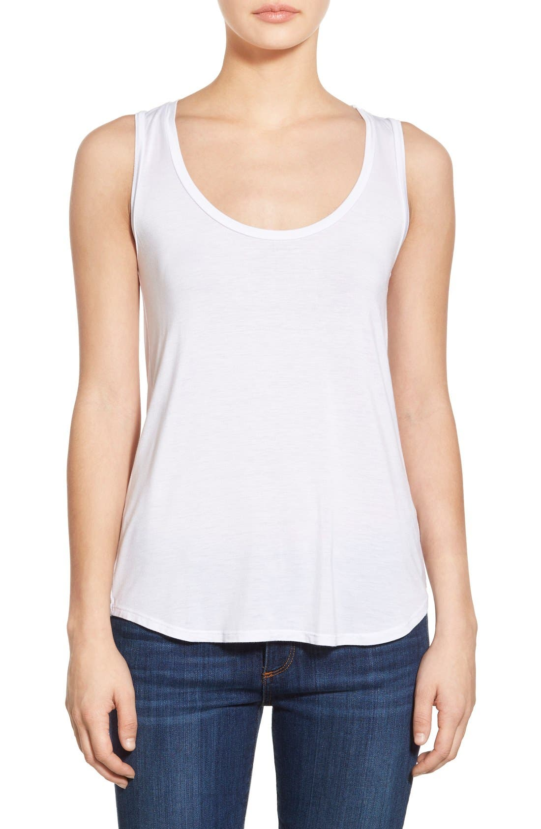 'Jessa' Stretch Jersey Tank,                         Main,                         color, Optic White