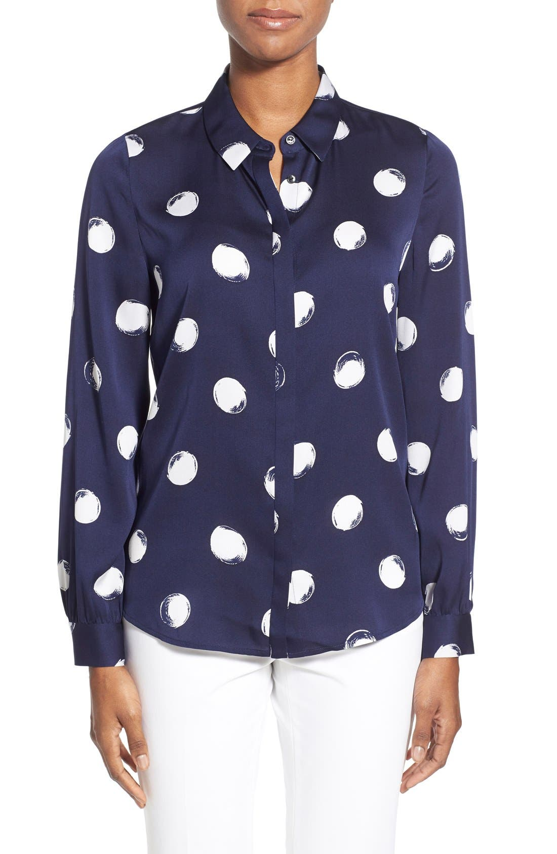 Alternate Image 1 Selected - Nordstrom Collection Dot Print Stretch Silk Blouse