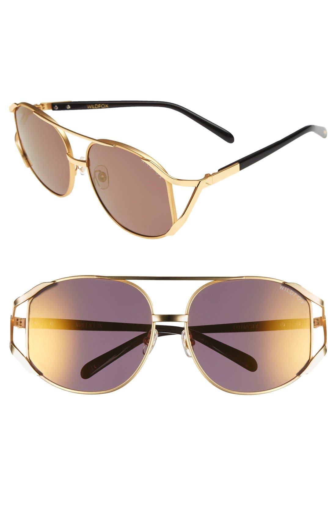 'Dynasty Deluxe' 59mm Retro Sunglasses,                         Main,                         color, Gold Tortoise/ Gold Mirror