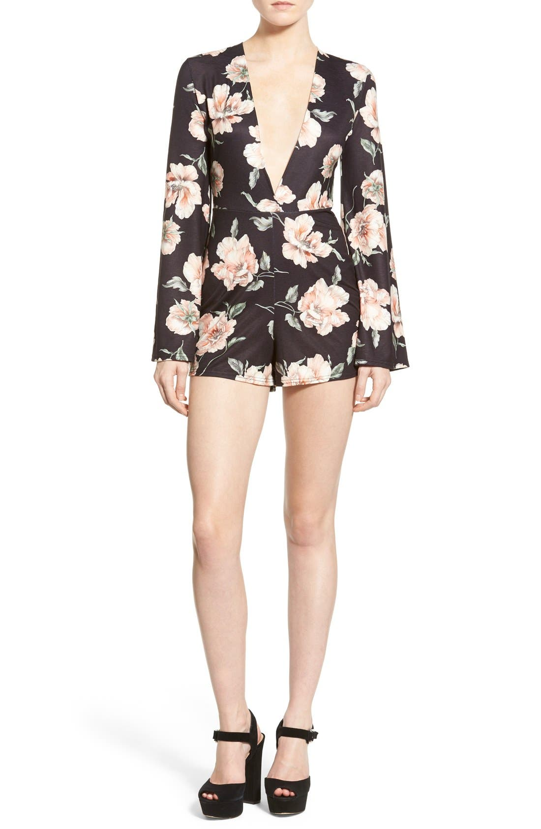 Main Image - Missguided Floral Print Plunge Romper