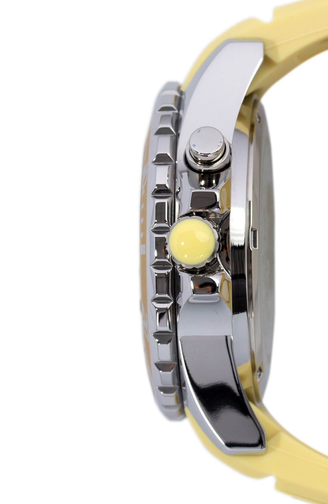Silicone Strap Watch, 40mm,                             Alternate thumbnail 3, color,                             Yellow Cream/ Yellow Cream