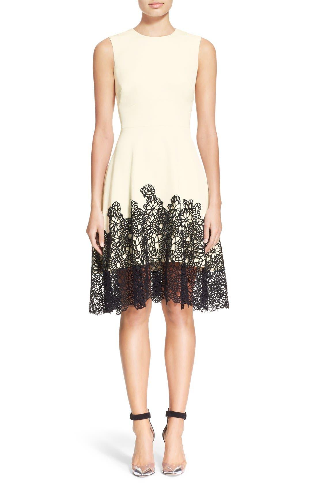 Main Image - Lela Rose Guipure Lace Hem Dress