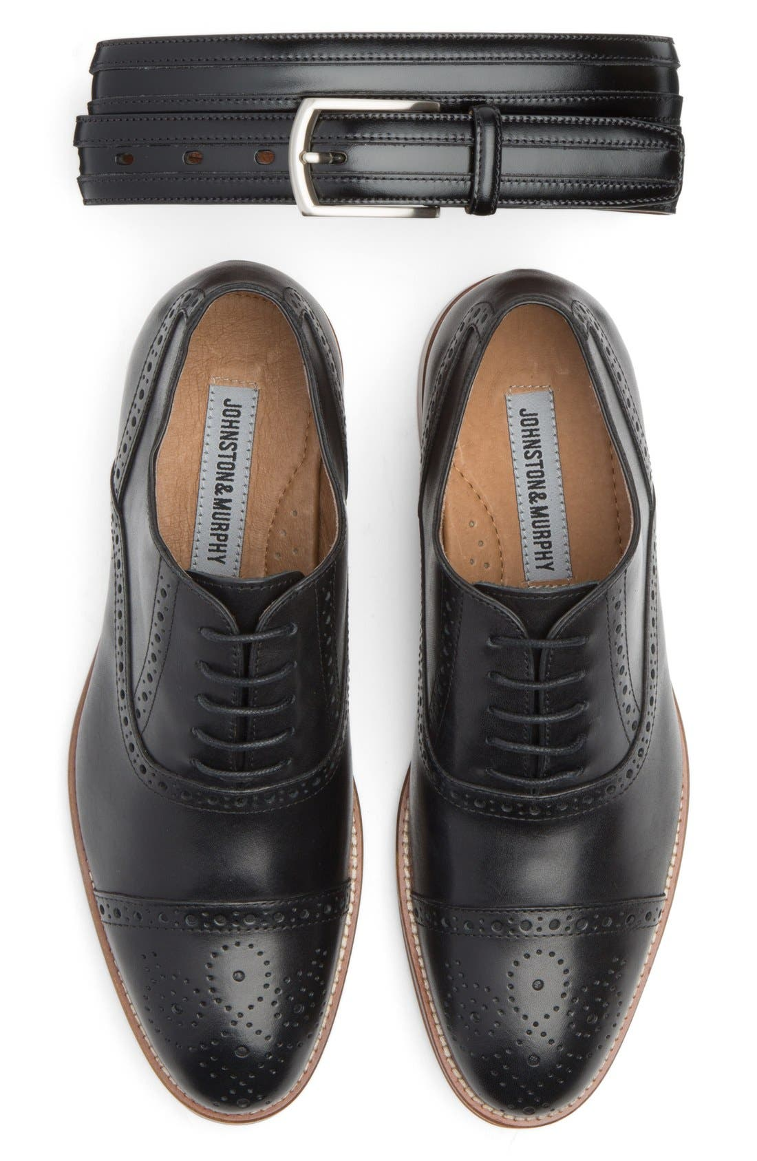 Johnston & Murphy Belt & Cap Toe Oxford Shoe