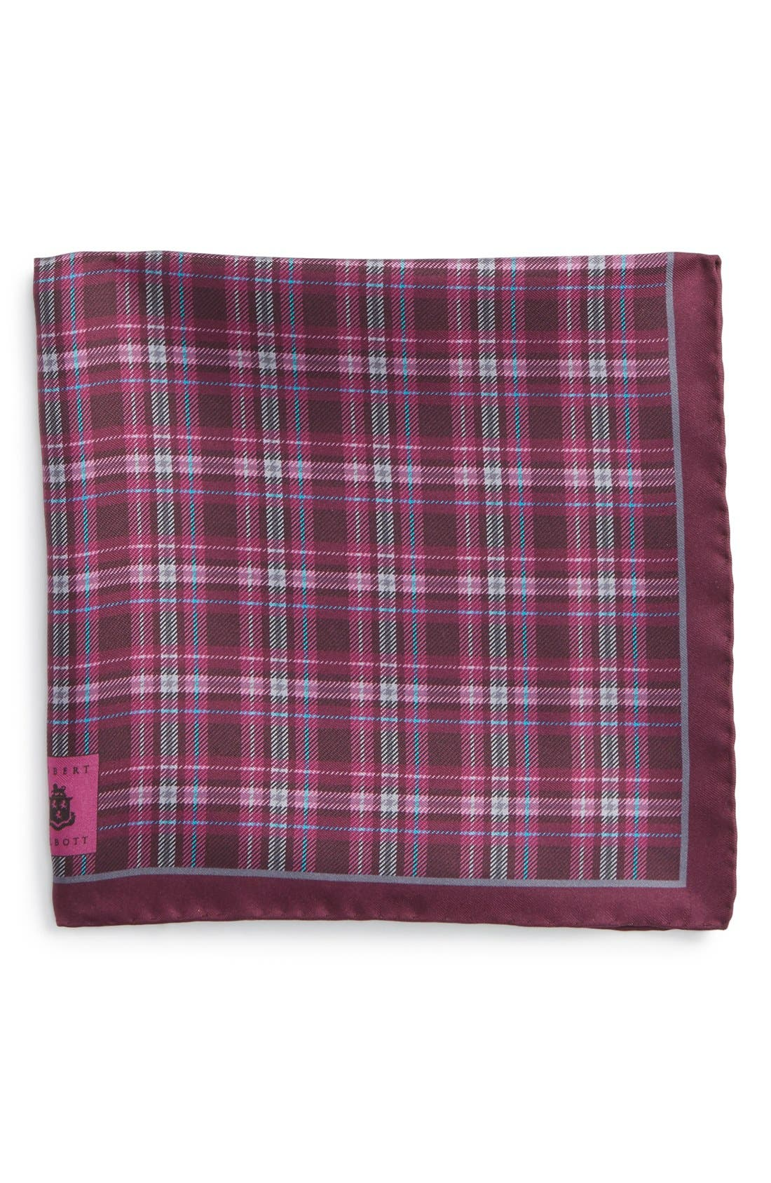 Plaid Silk Pocket Square,                         Main,                         color, Pink