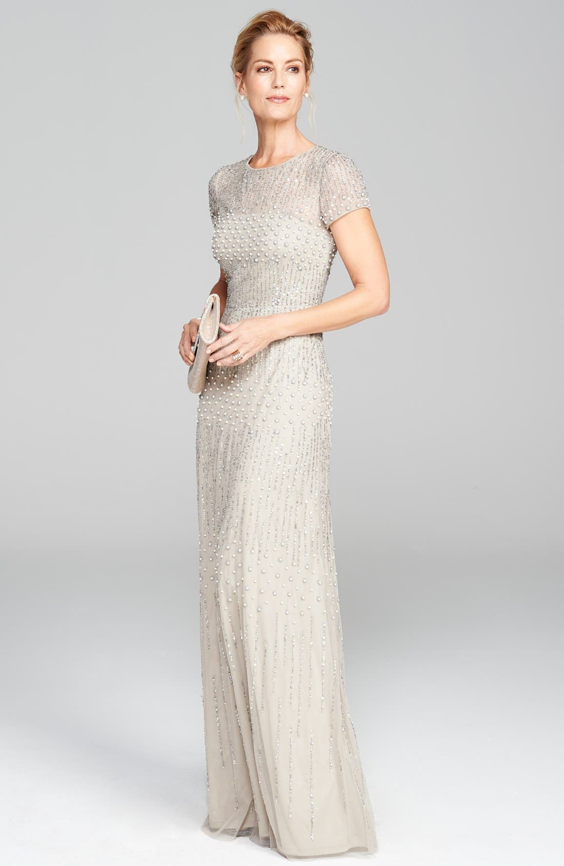 Alternate Image 2  - Adrianna Papell Embellished Mesh Gown (Regular & Petite)