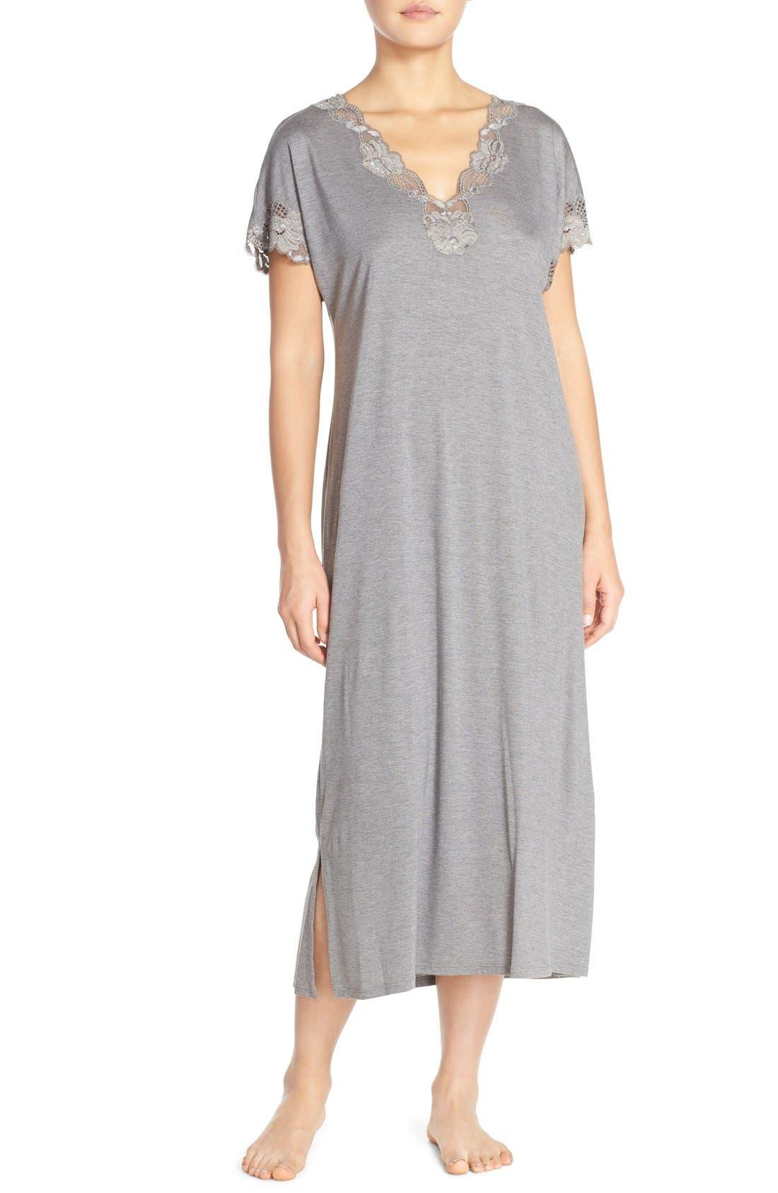 'Zen' Short SleeveNightgown,                         Main,                         color, Heather Grey