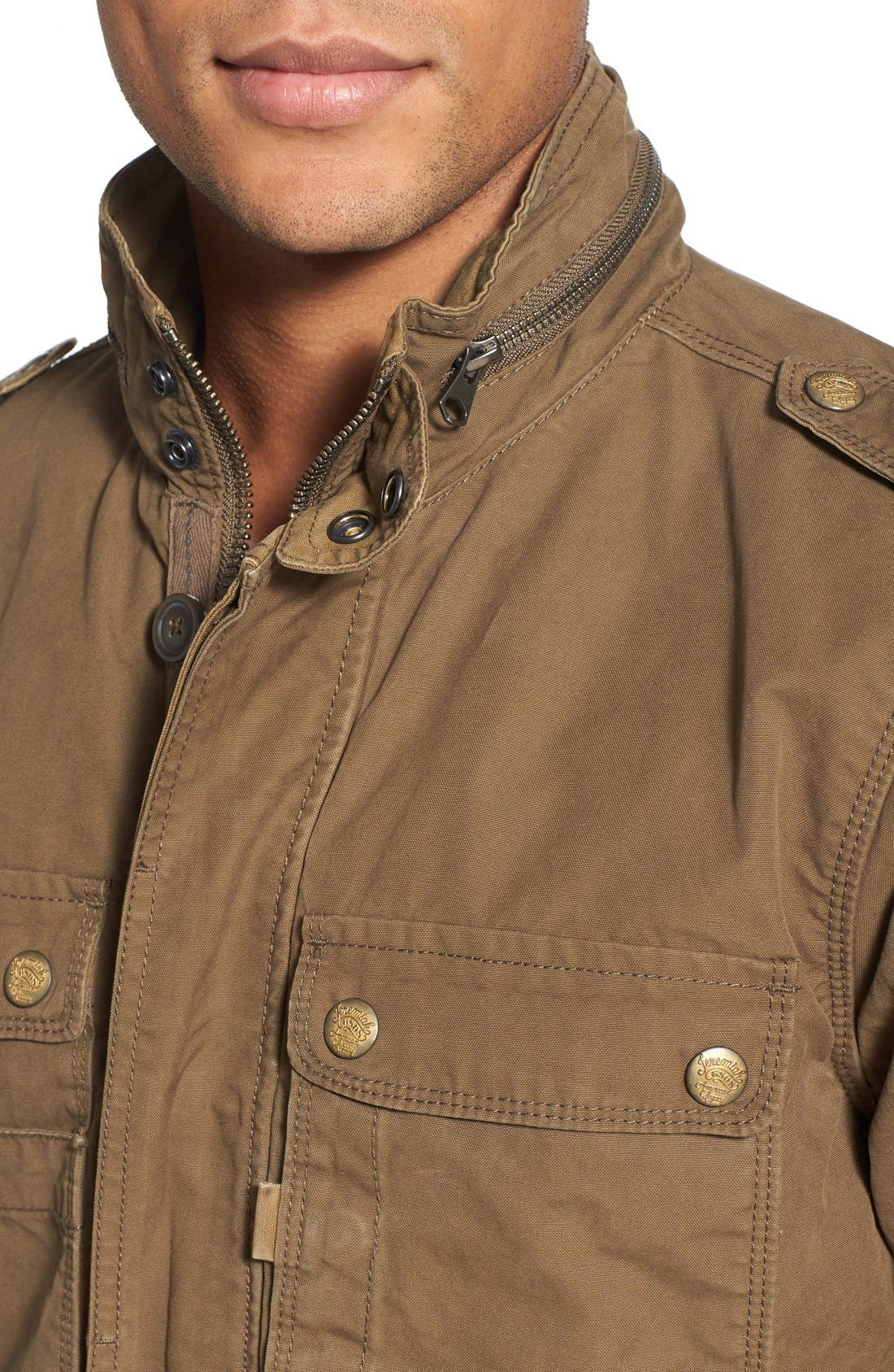 'Paxton' Military Jacket with Stowaway Hood,                             Alternate thumbnail 4, color,                             Peat
