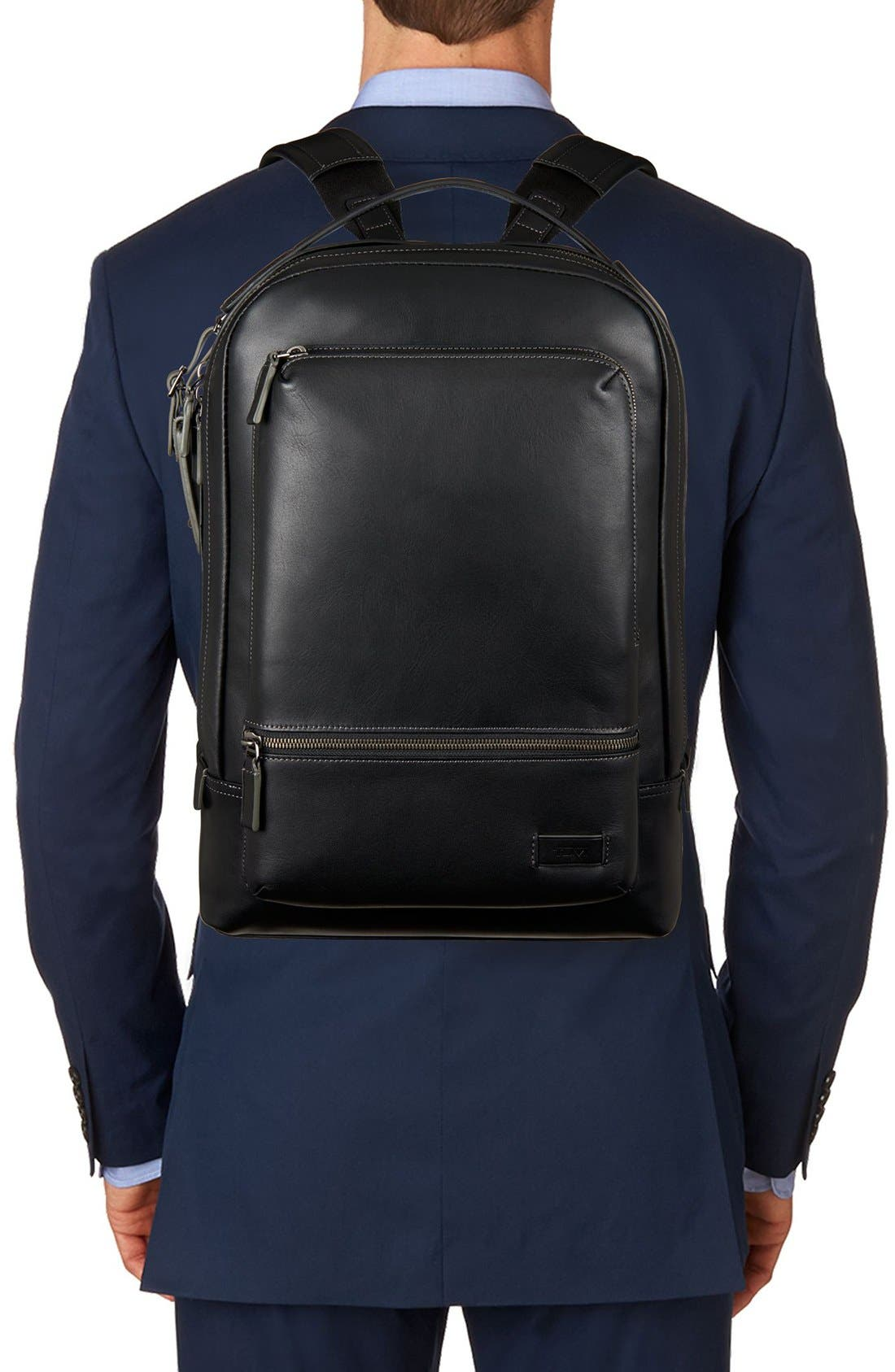 'Harrison - Bates' Leather Backpack,                             Alternate thumbnail 2, color,                             Black