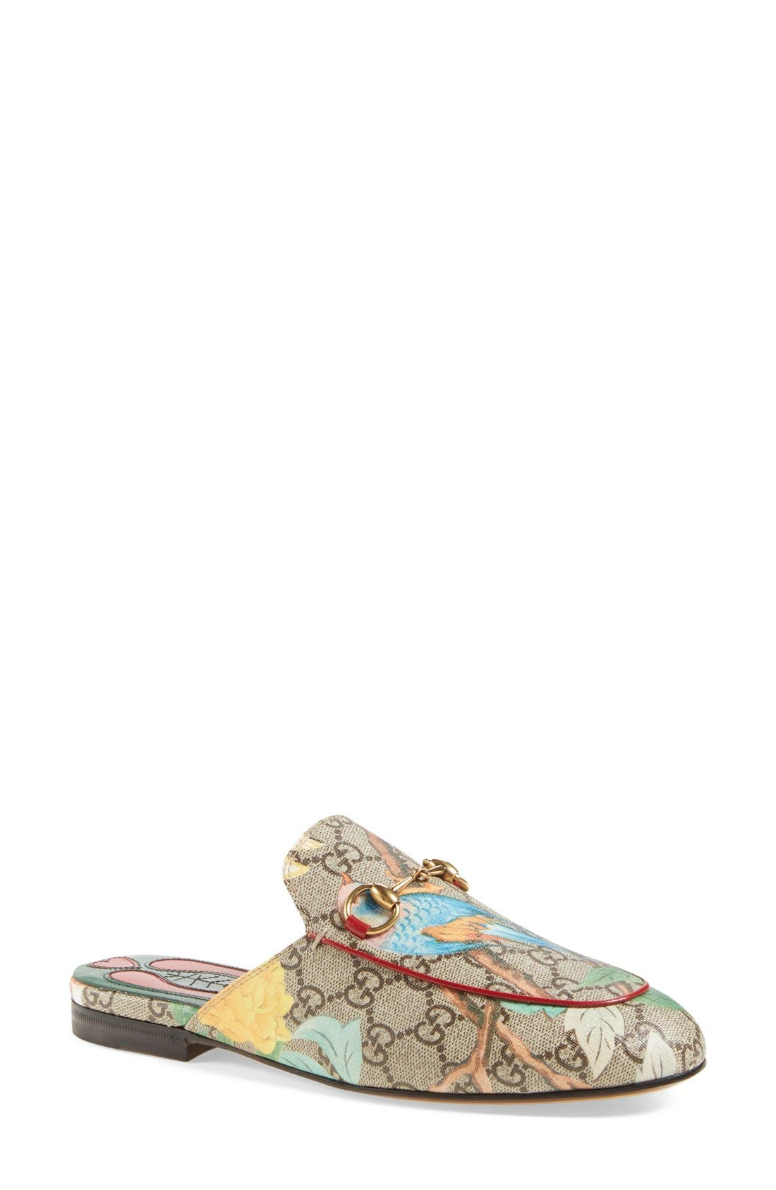 Alternate Image 1 Selected - Gucci 'Princetown' Floral Print Mule Loafer (Women)