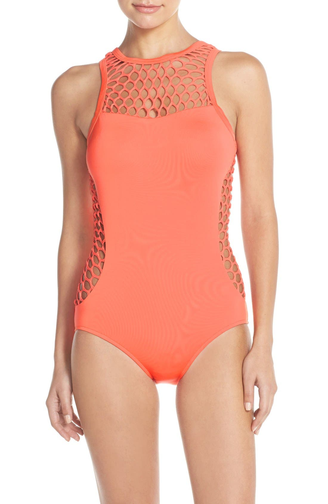 Alternate Image 1 Selected - Seafolly 'Mesh About' High Neck One-Piece Swimsuit