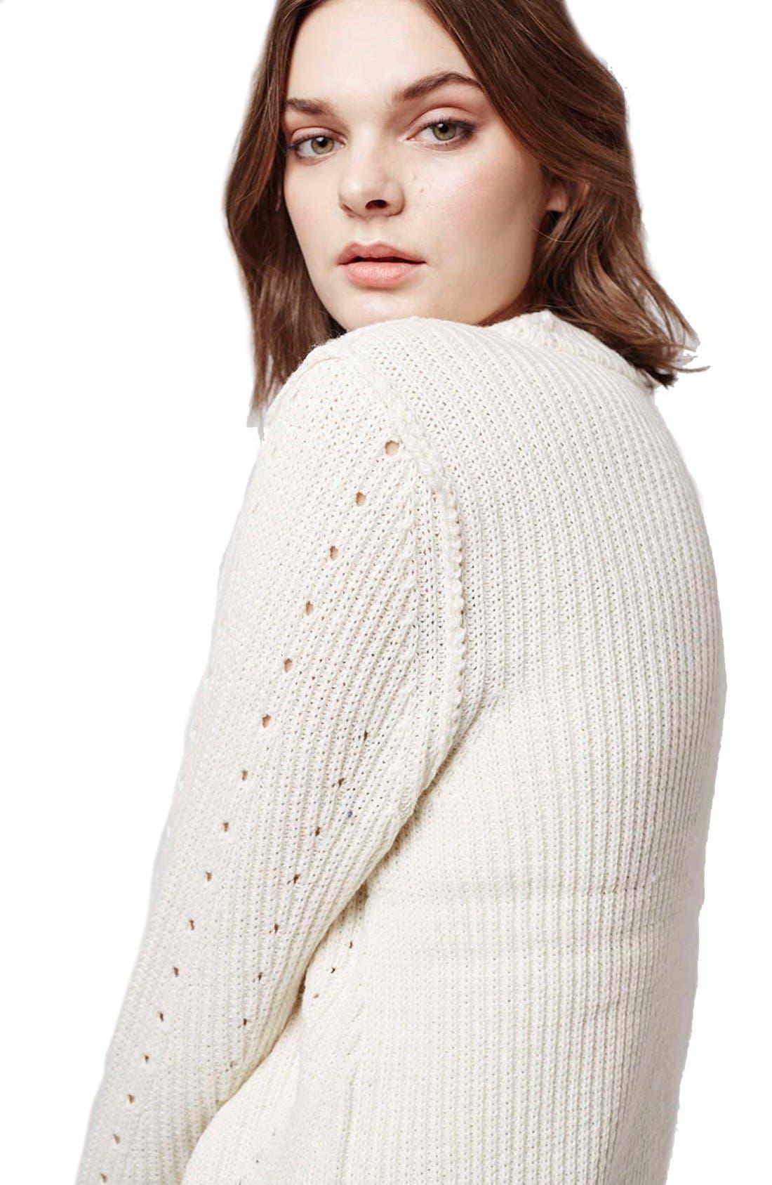Alternate Image 5  - Topshop Pointelle Ribbed Crewneck Sweater
