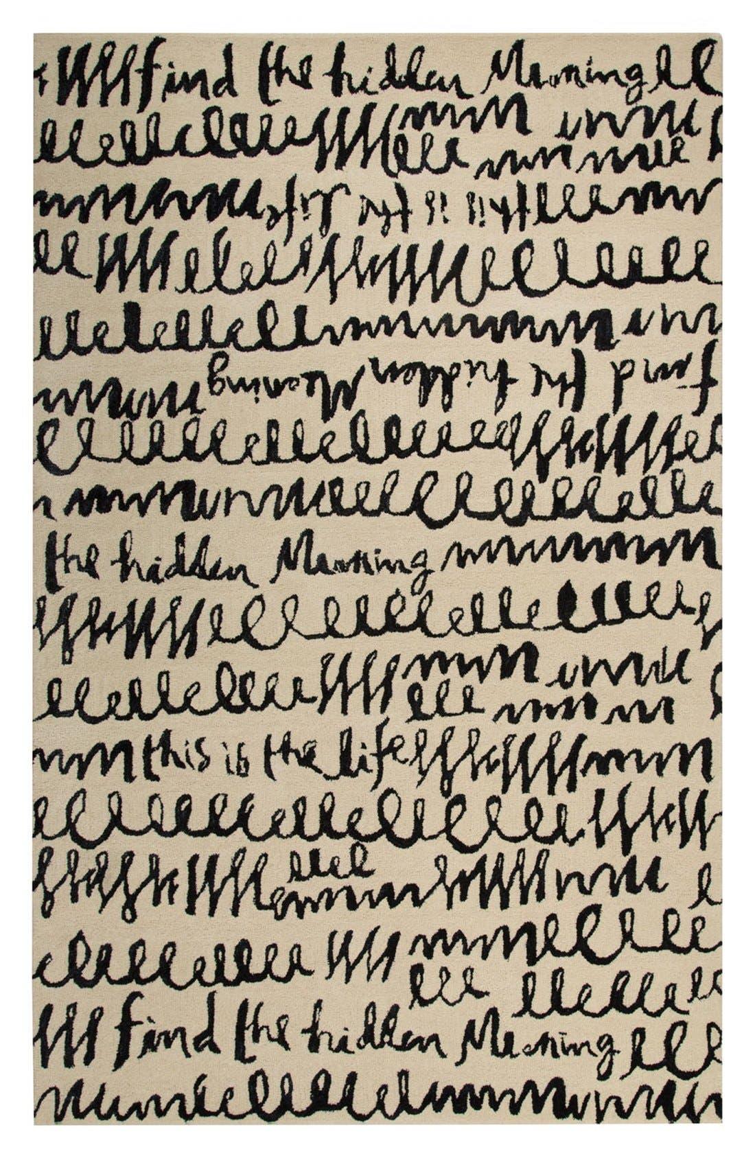 'gramercy' wool & silk area rug,                         Main,                         color, Ivory/ Black