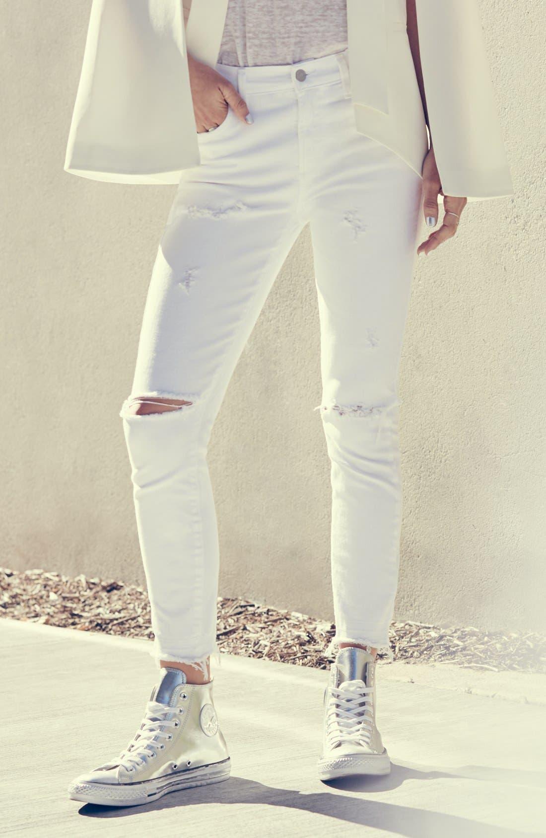 Alternate Image 6  - A Gold E 'Sophie' Distressed Crop Skinny Jeans (Off Spring)
