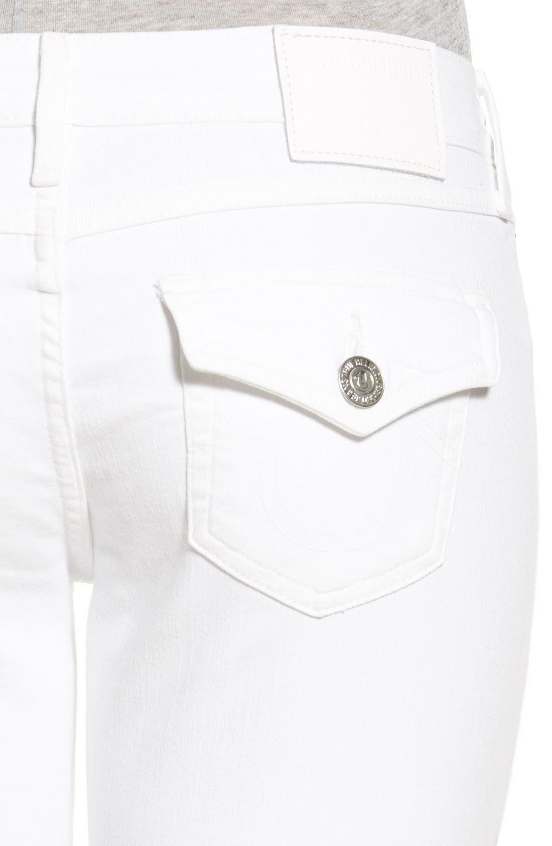 Alternate Image 4  - True Religion Brand Jeans 'Casey' Flap Pocket Skinny Jeans (Optic White)