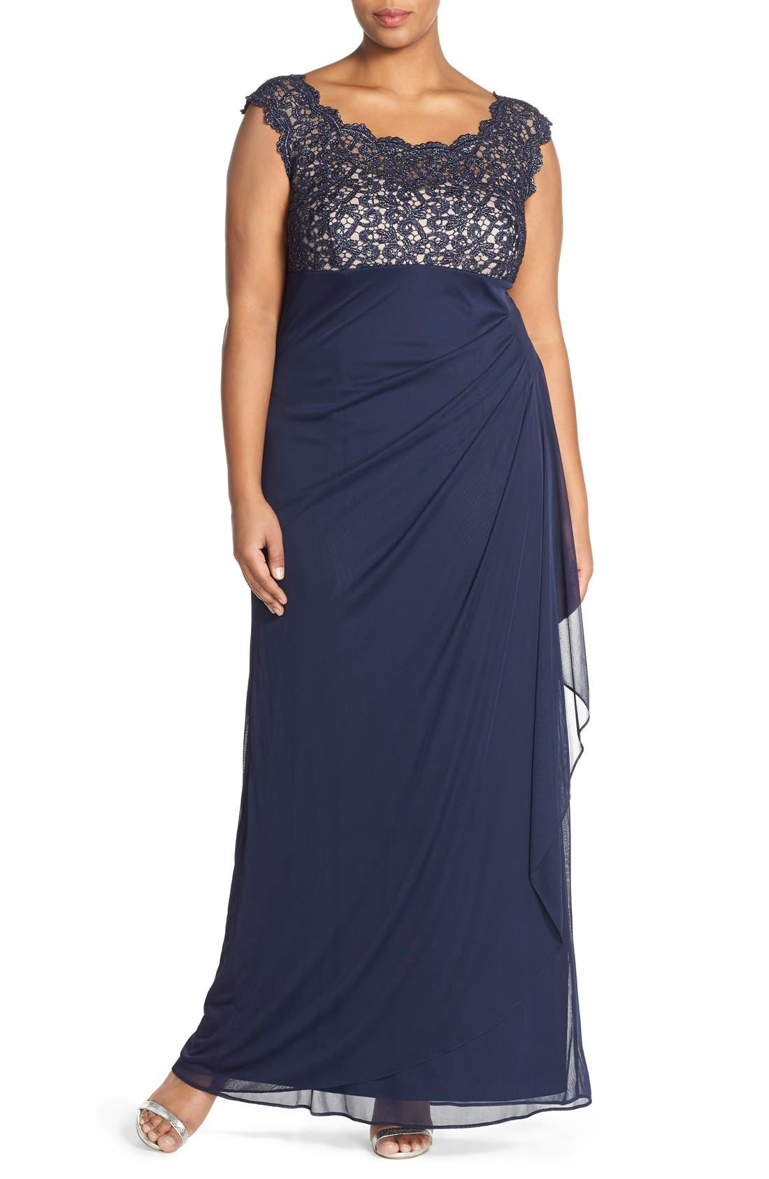 Lace Bodice Empire Gown,                         Main,                         color, Navy