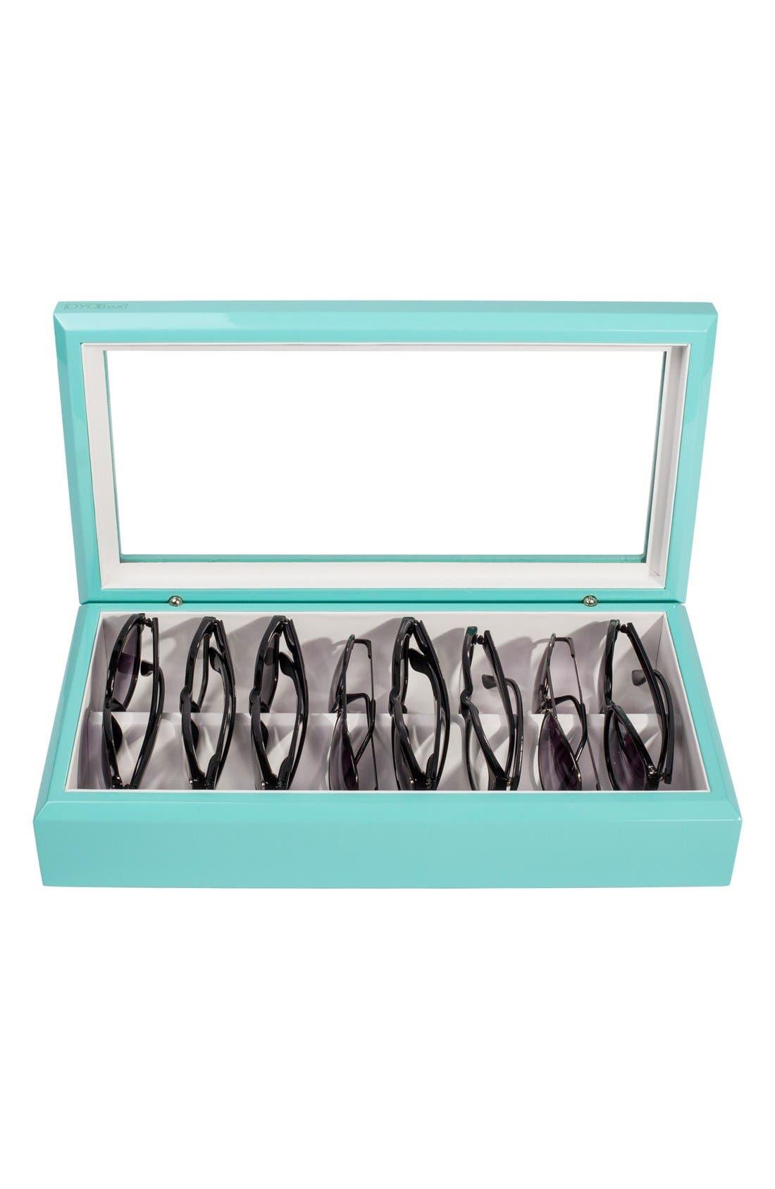 Lacquered Wood Window Top Eyewear Organizer Case,                             Alternate thumbnail 3, color,                             Aqua