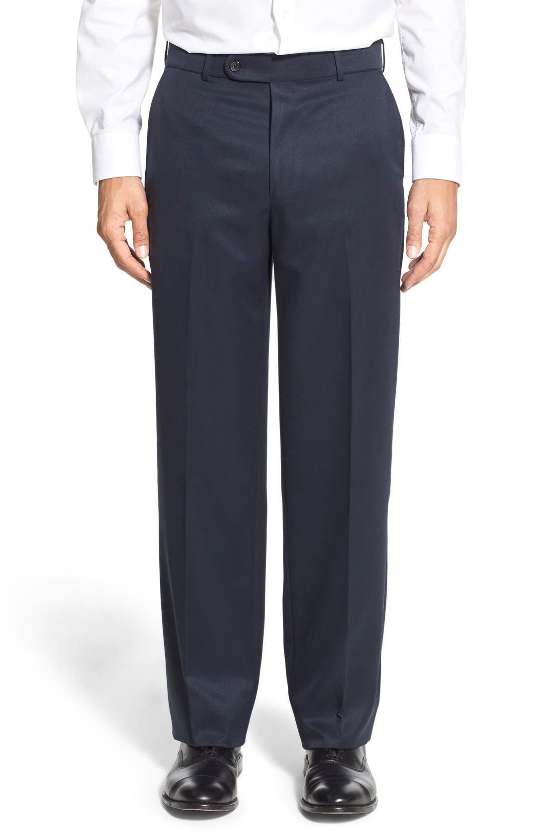 Regular Fit Flat Front Trousers,                         Main,                         color, Navy