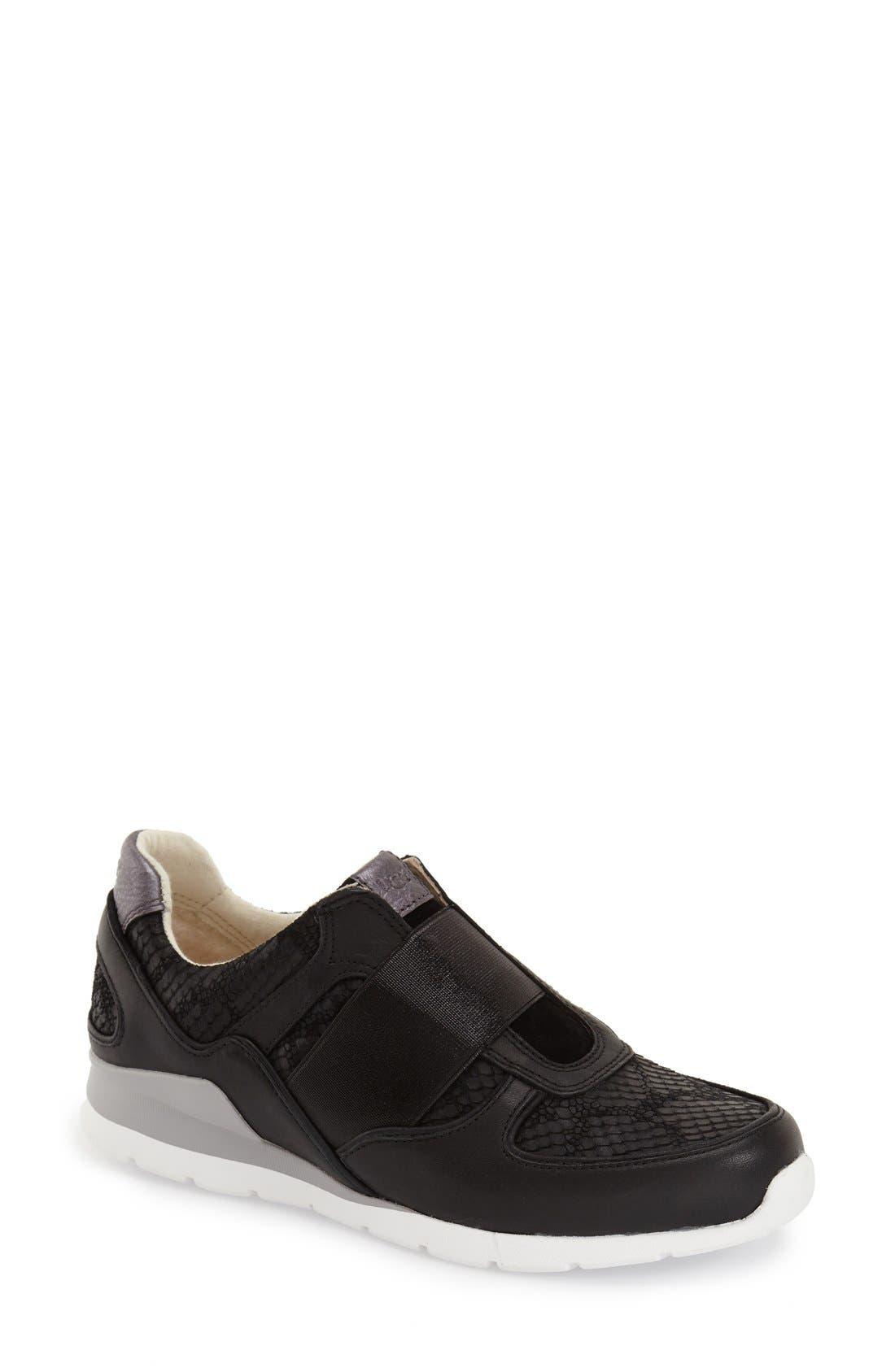 'Annetta' Slip-On Sneaker,                             Main thumbnail 1, color,                             Black Leather