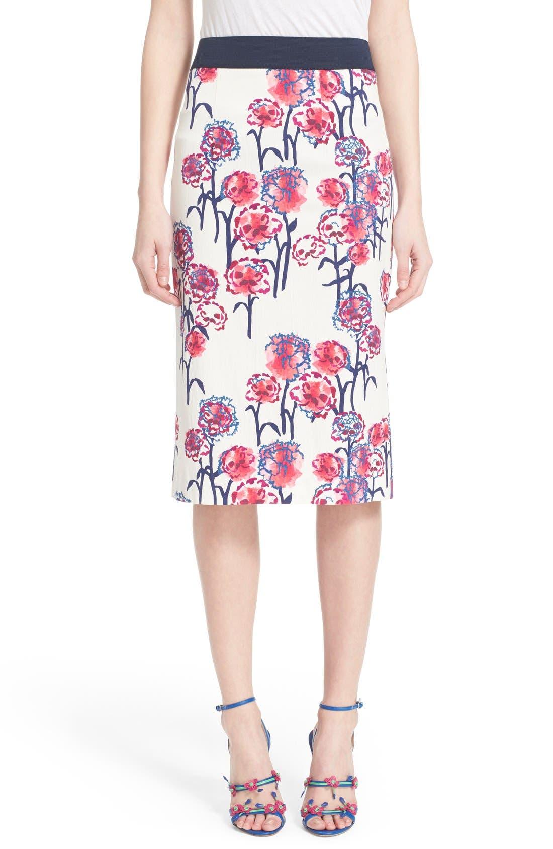 Textured Garden Print Pencil Skirt,                         Main,                         color, White/ Hibiscus Multi