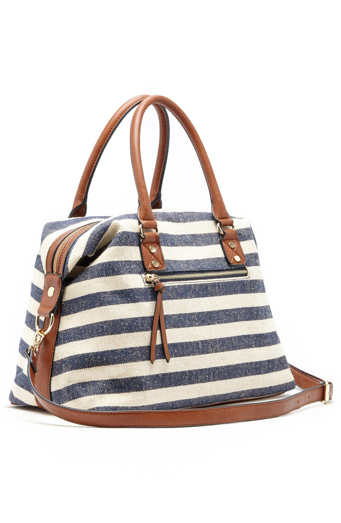 'Leighton' Stripe Duffel Bag,                             Alternate thumbnail 3, color,                             Navy/ Cream