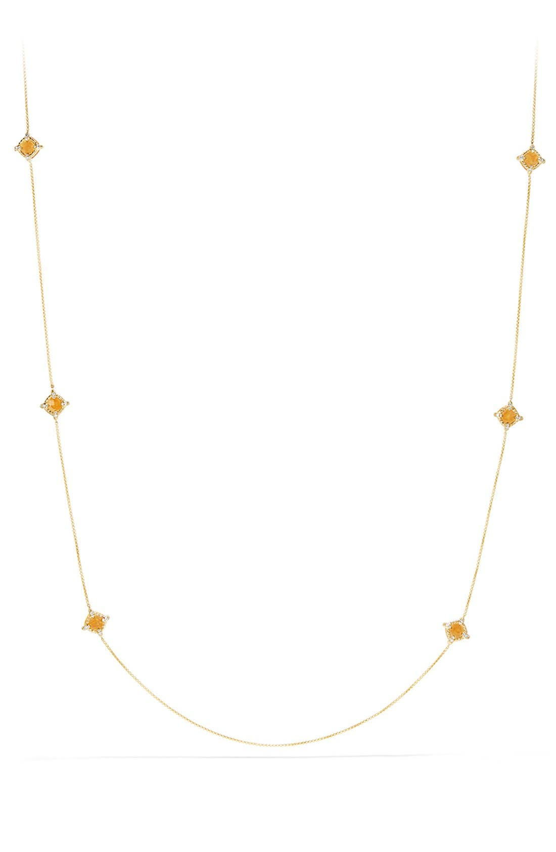 'Châtelaine' Long Semiprecious Stone Necklace with Diamonds,                             Alternate thumbnail 2, color,                             Citrine