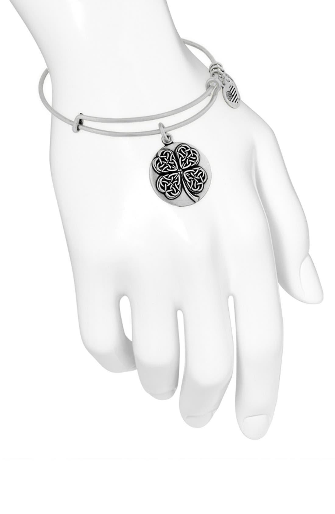 Alternate Image 2  - Alex and Ani 'Four Leaf Clover' Bangle Bracelet