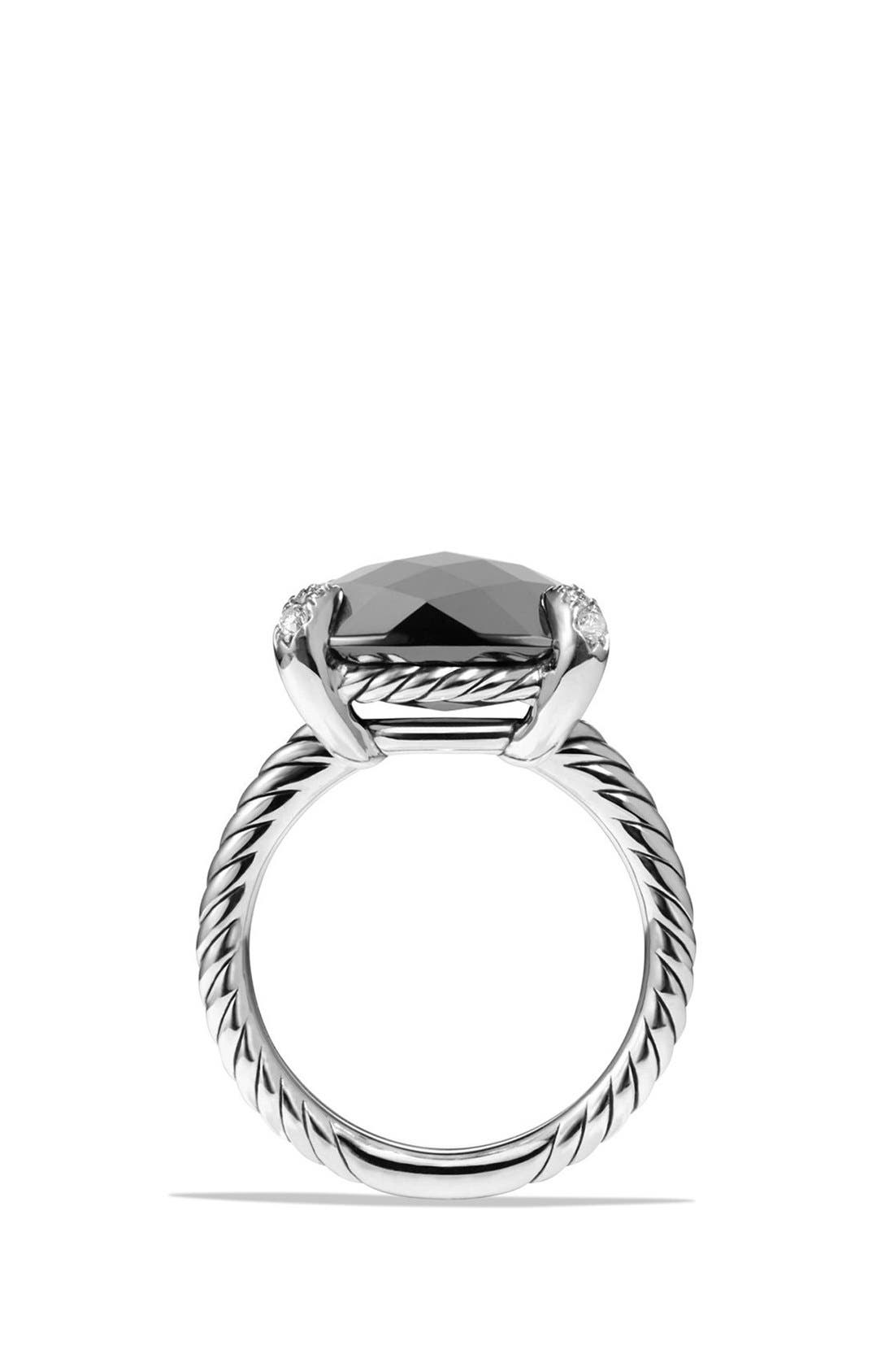 'Châtelaine' Ring with Semiprecious Stone and Diamonds,                             Alternate thumbnail 4, color,                             Silver/ Hematine