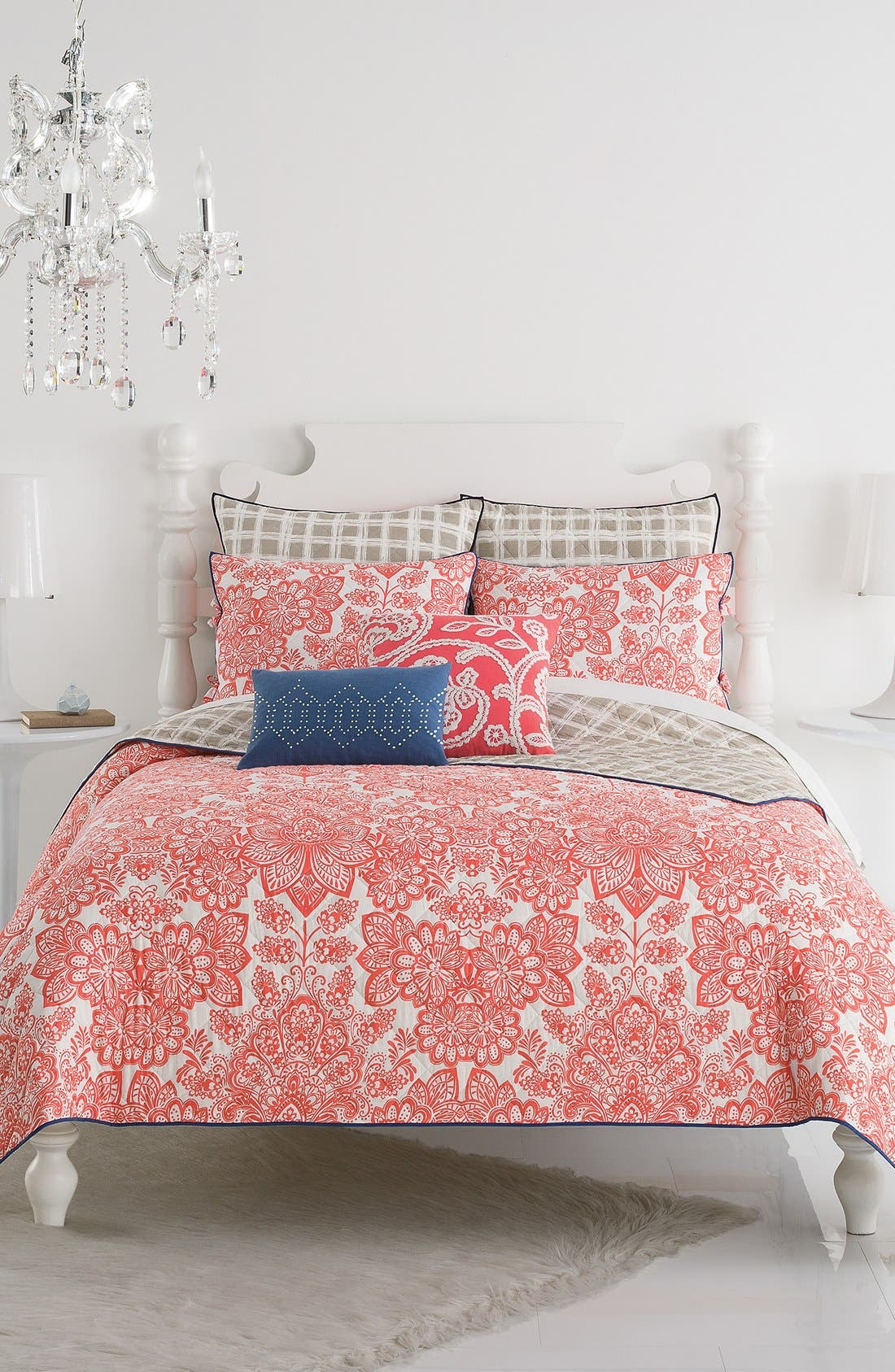 'Ingrid' Quilt,                         Main,                         color, Coral/ Taupe