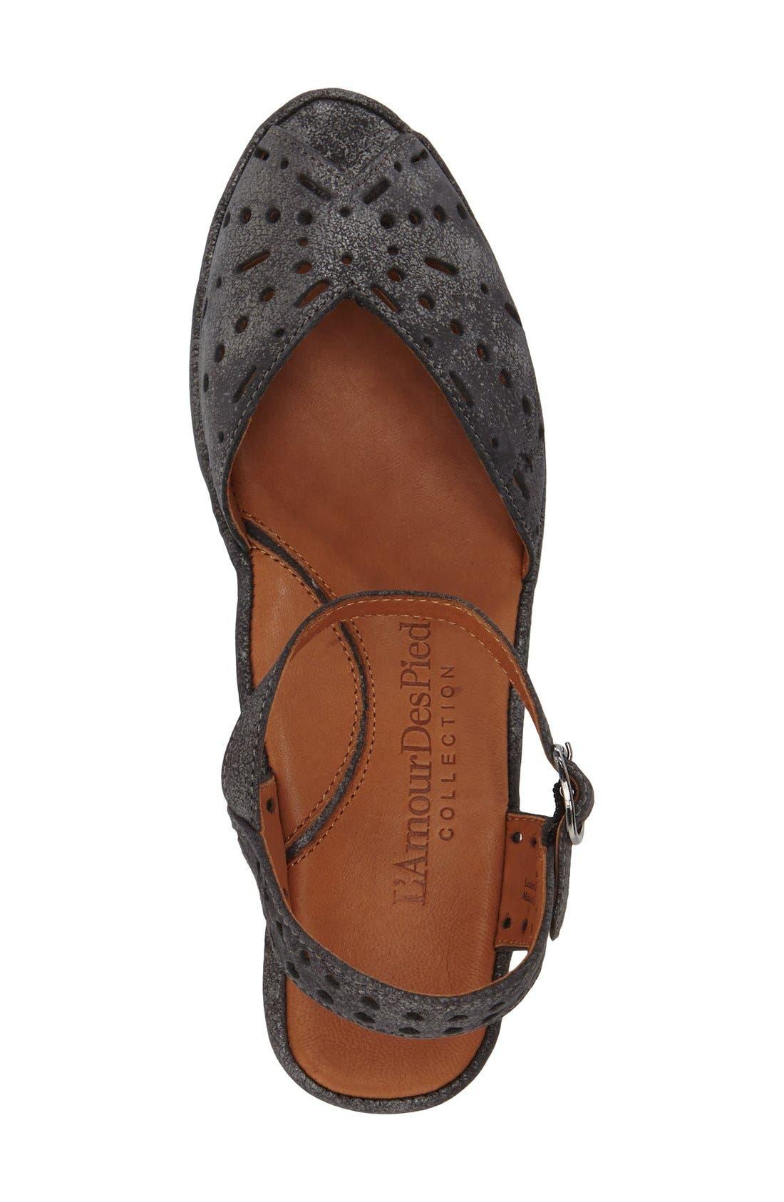'Brenn' Ankle Strap Sandal,                             Alternate thumbnail 3, color,                             Graphite Leather