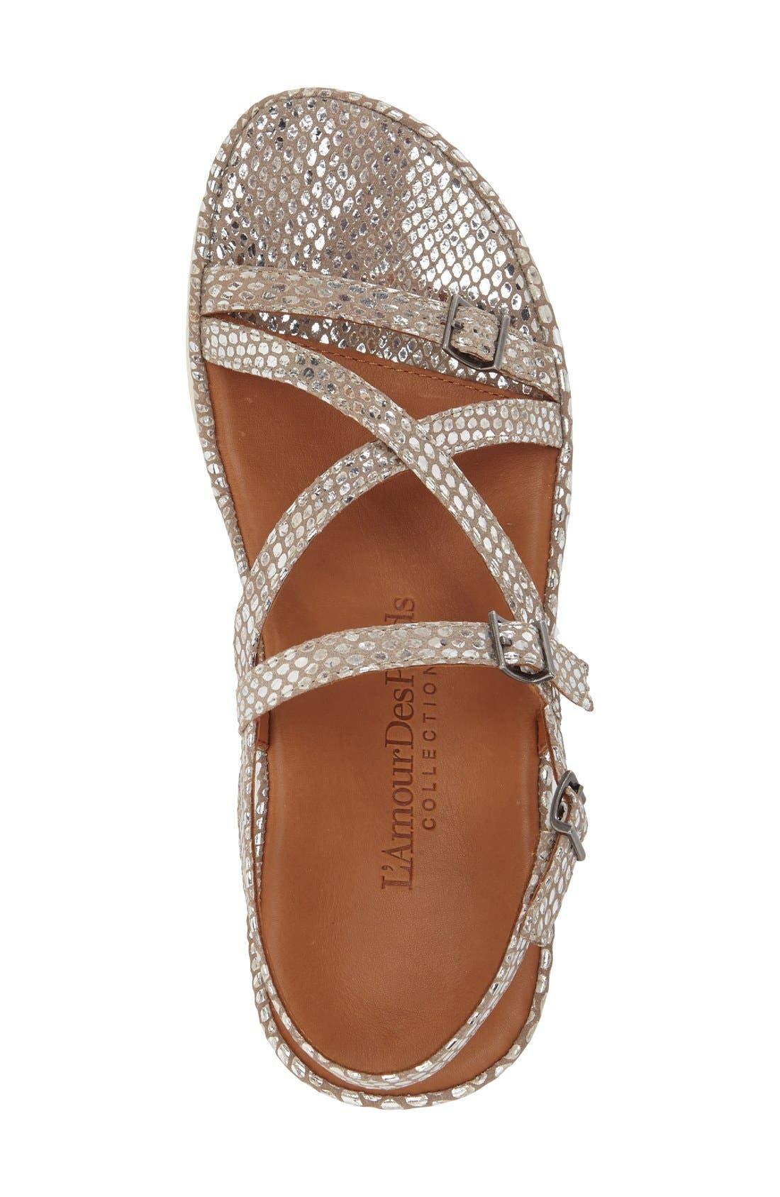 'Verdun' Crisscross Sandal,                             Alternate thumbnail 3, color,                             Gold/ Silver Snake Leather