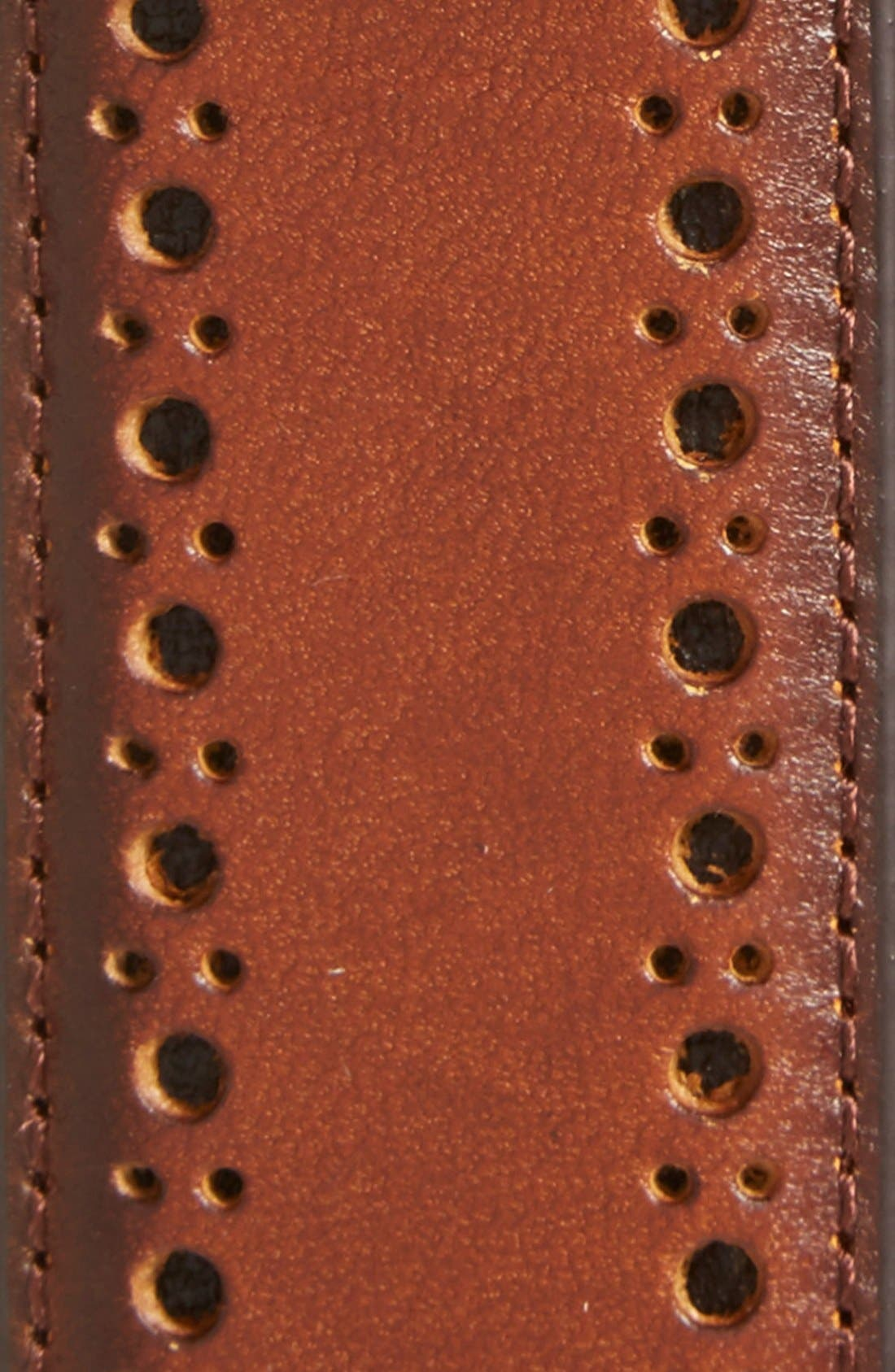Perforated Leather Belt,                             Alternate thumbnail 2, color,                             Tan